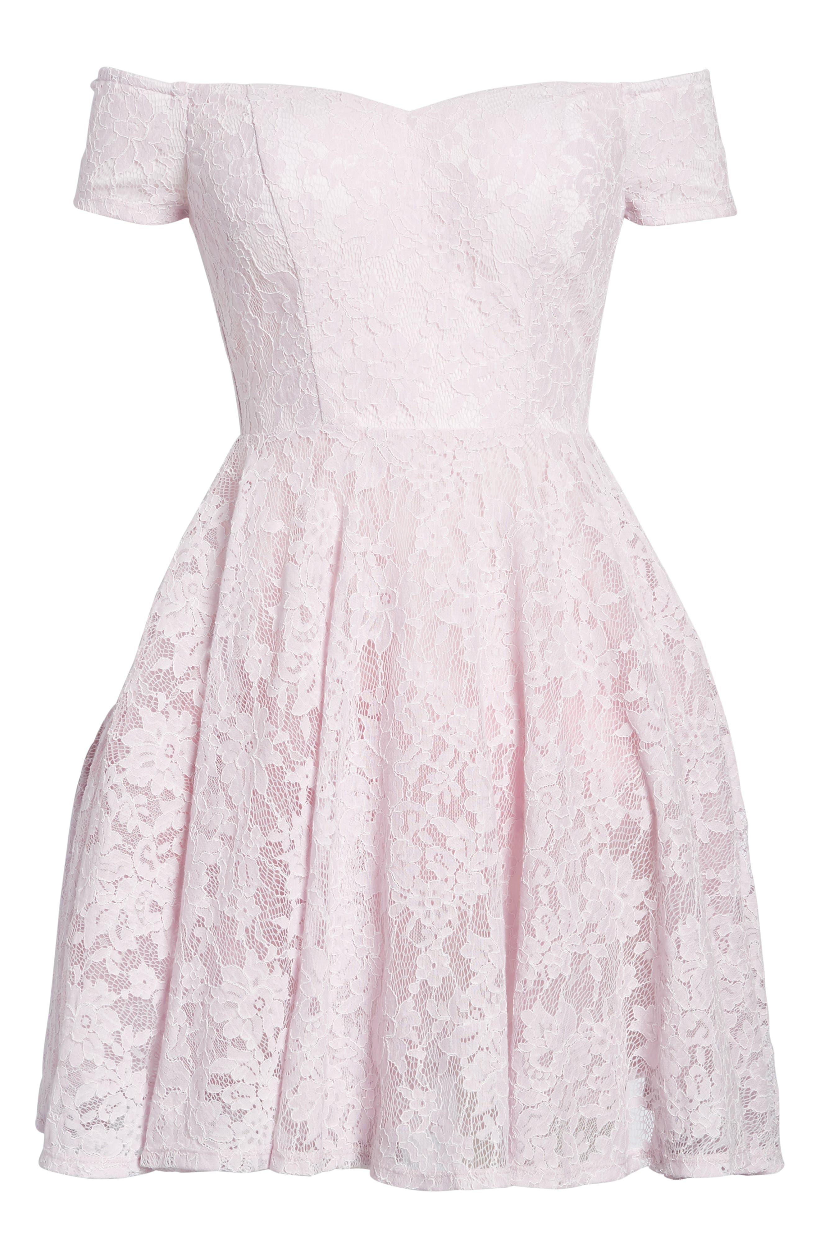 Lace Off the Shoulder Fit & Flare Dress,                             Alternate thumbnail 37, color,