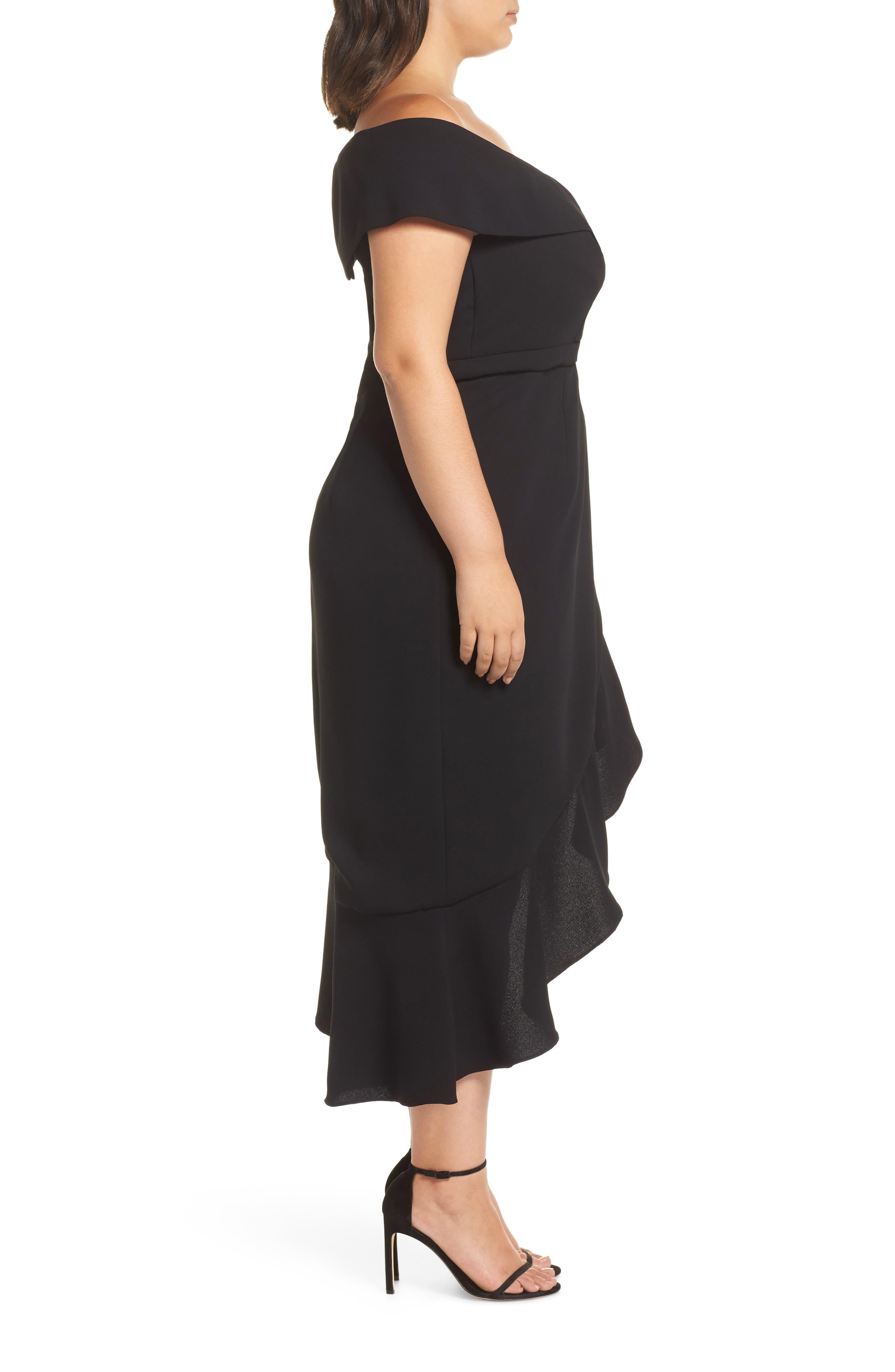 Off the Shoulder Ruffle Midi Dress,                             Alternate thumbnail 3, color,                             BLACK