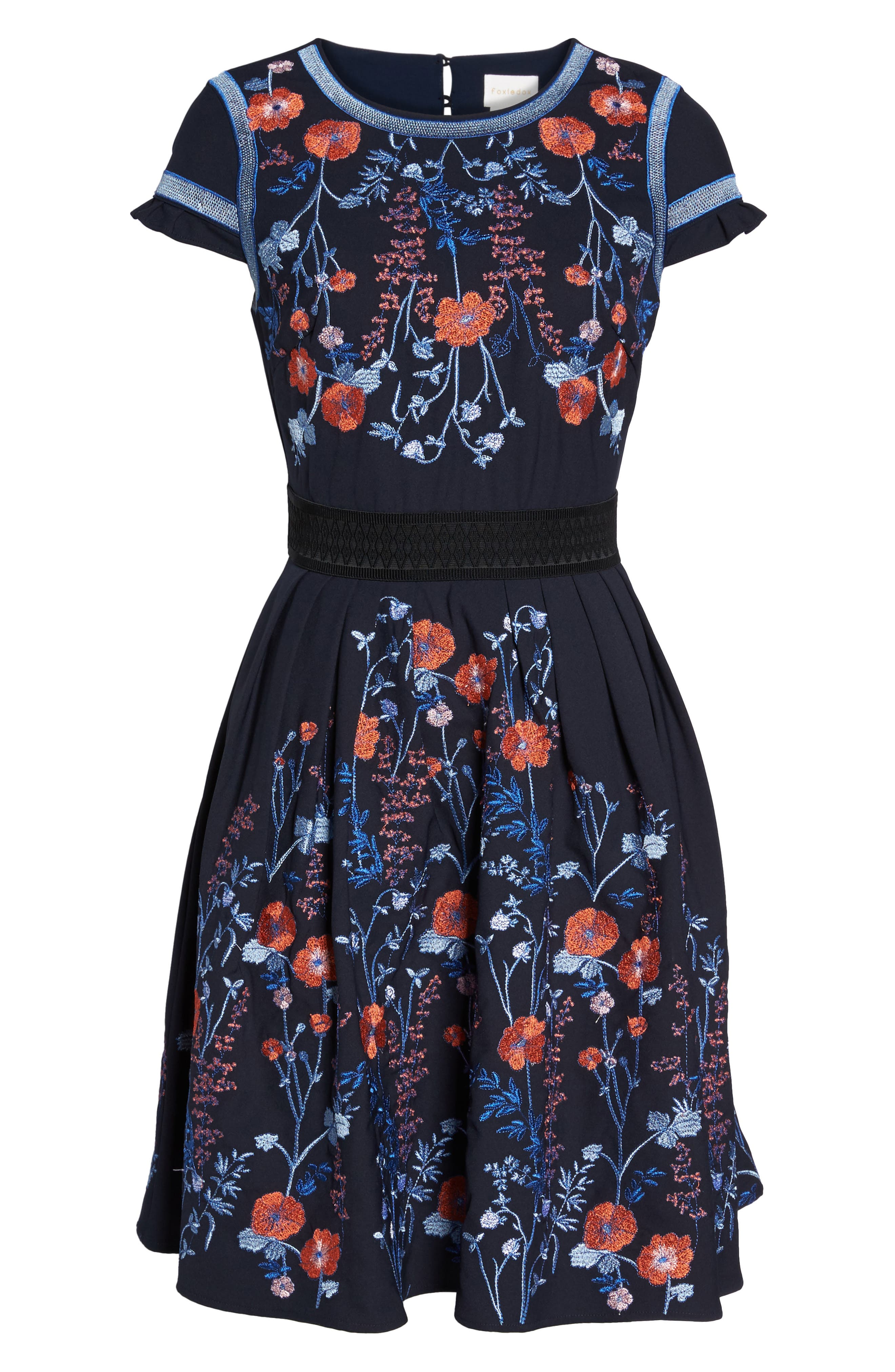 Senna Embroidered Fit & Flare Dress,                             Alternate thumbnail 6, color,                             400