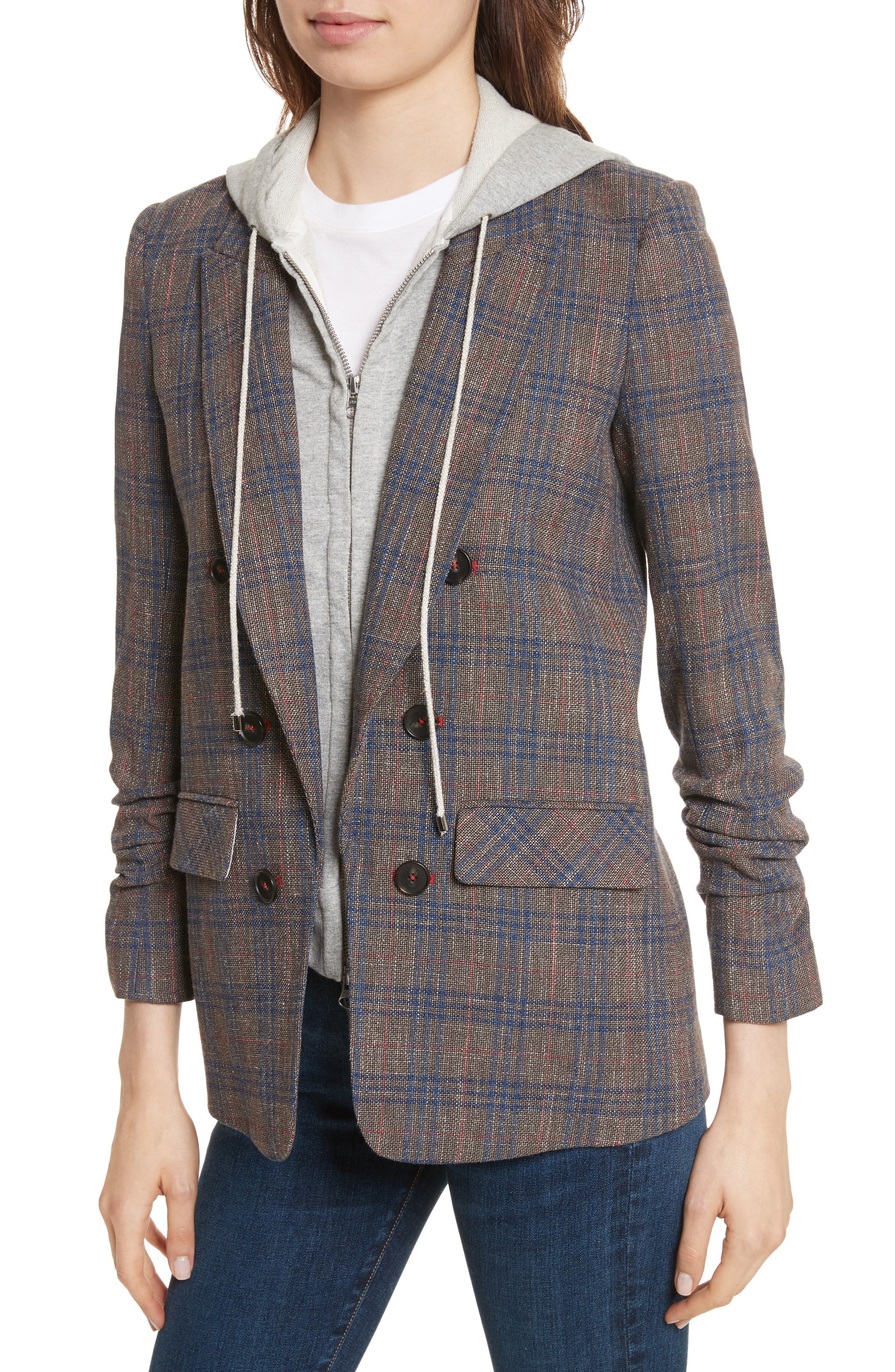 Beacon Plaid Faux Double Breasted Blazer,                             Alternate thumbnail 4, color,