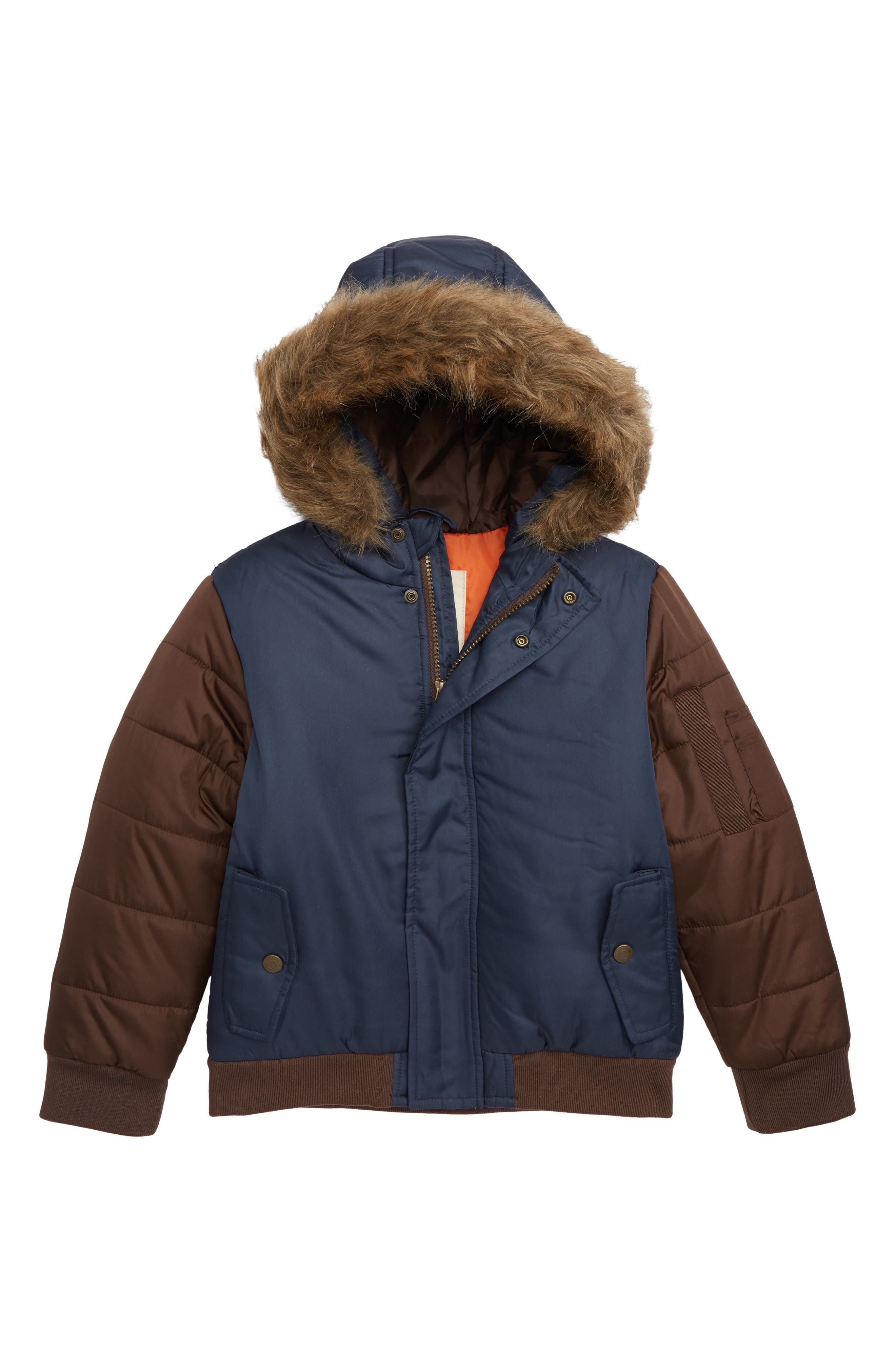 Colorblock Hooded Puffer Jacket with Faux Fur Trim,                             Main thumbnail 1, color,                             NAVY BLAZER