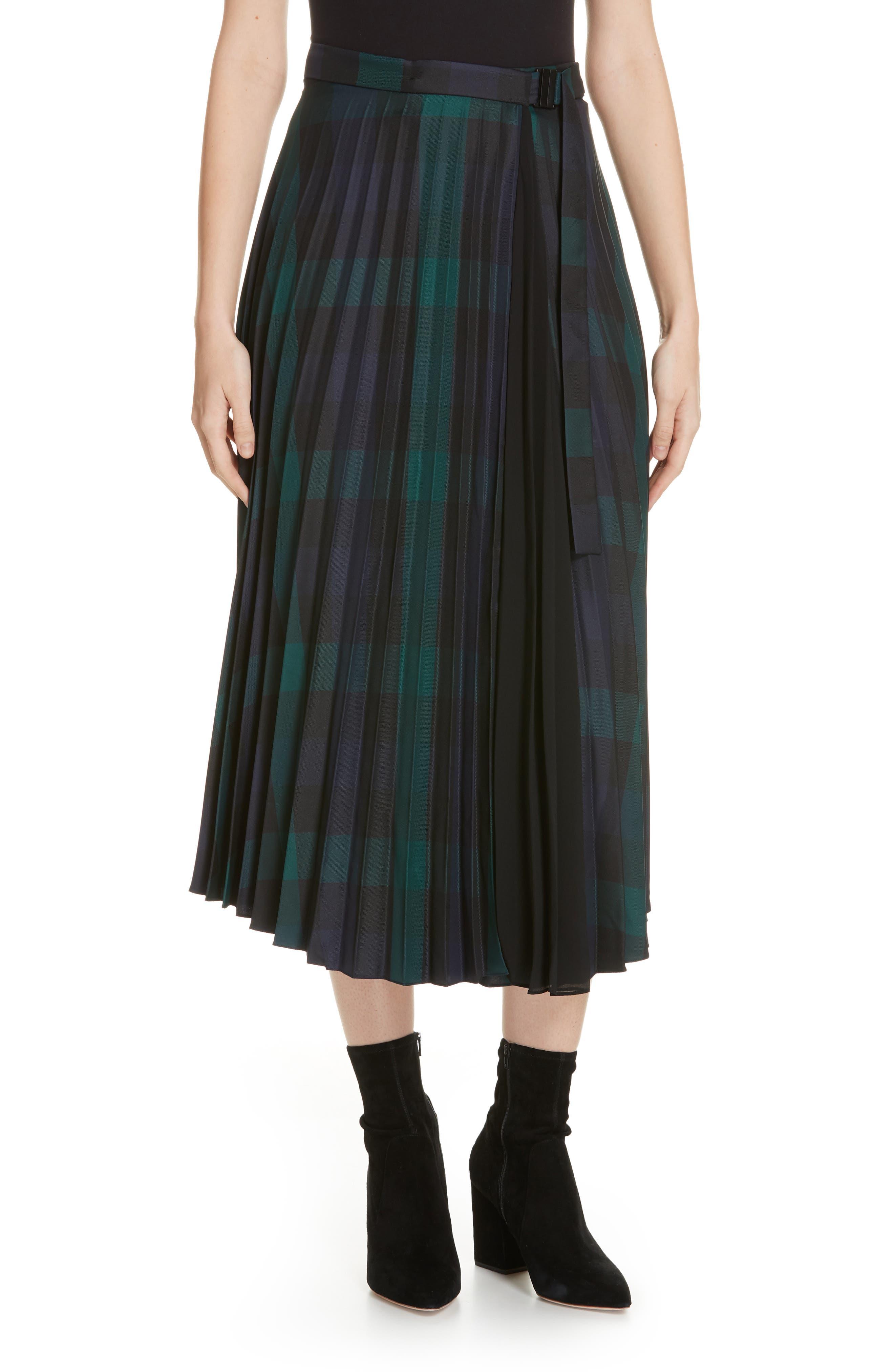 Plaid Pleated Midi Skirt,                             Main thumbnail 1, color,                             DEEP NAVY