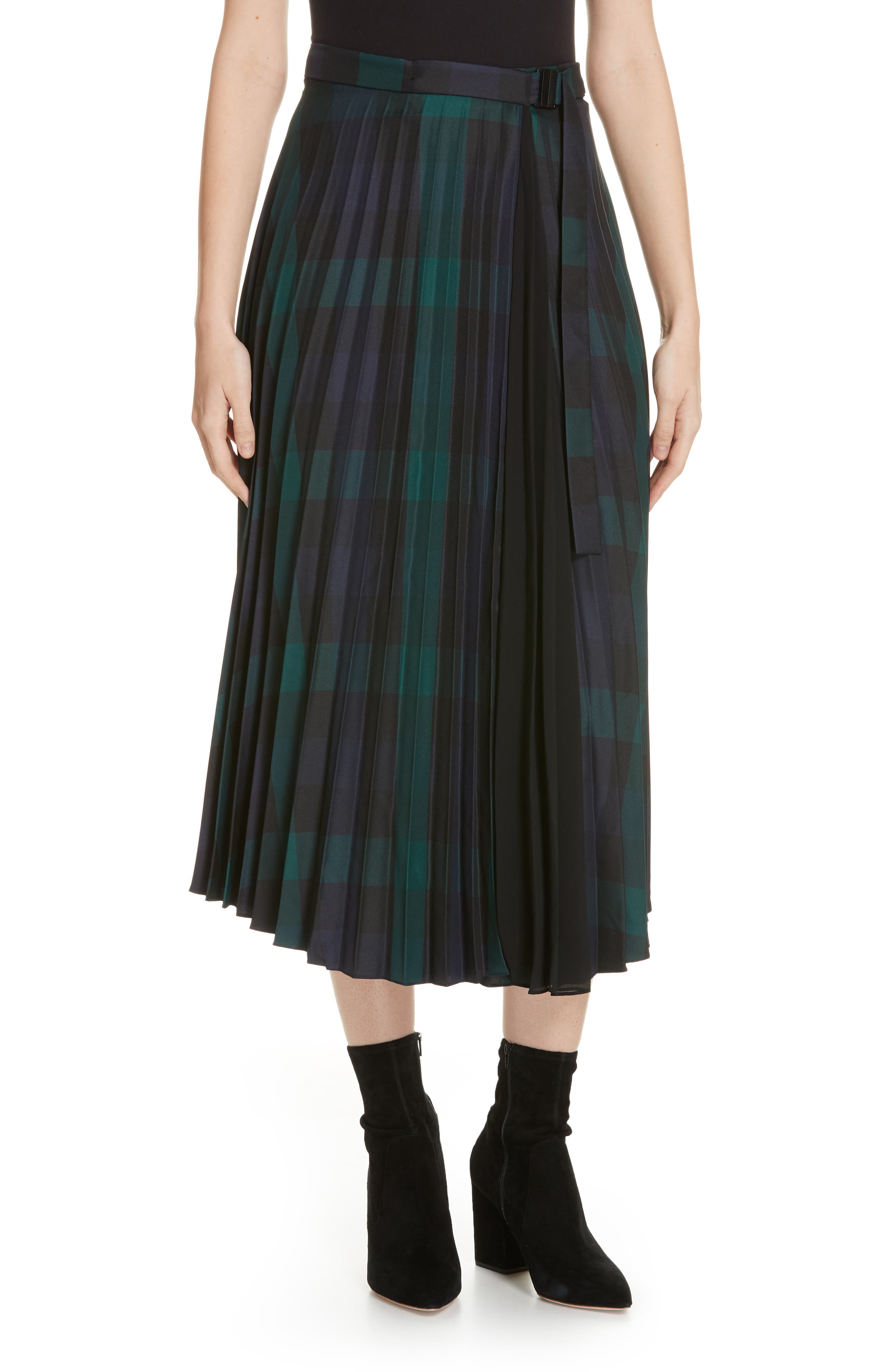 Plaid Pleated Midi Skirt,                         Main,                         color, DEEP NAVY
