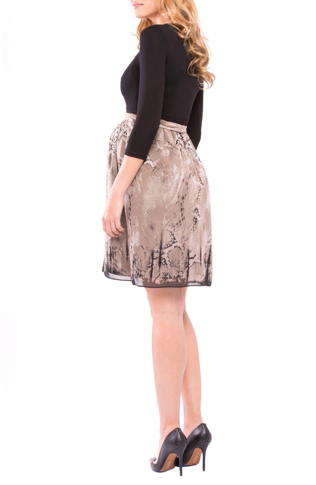 'Jolie' Maternity Dress,                             Alternate thumbnail 2, color,                             TAUPE/ BLACK PYTHON