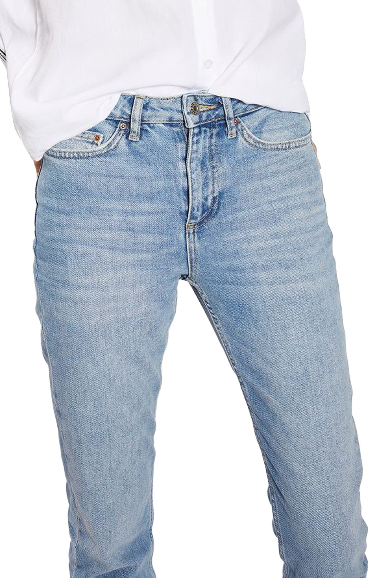 Raw Hem Straight Leg Jeans,                             Alternate thumbnail 3, color,