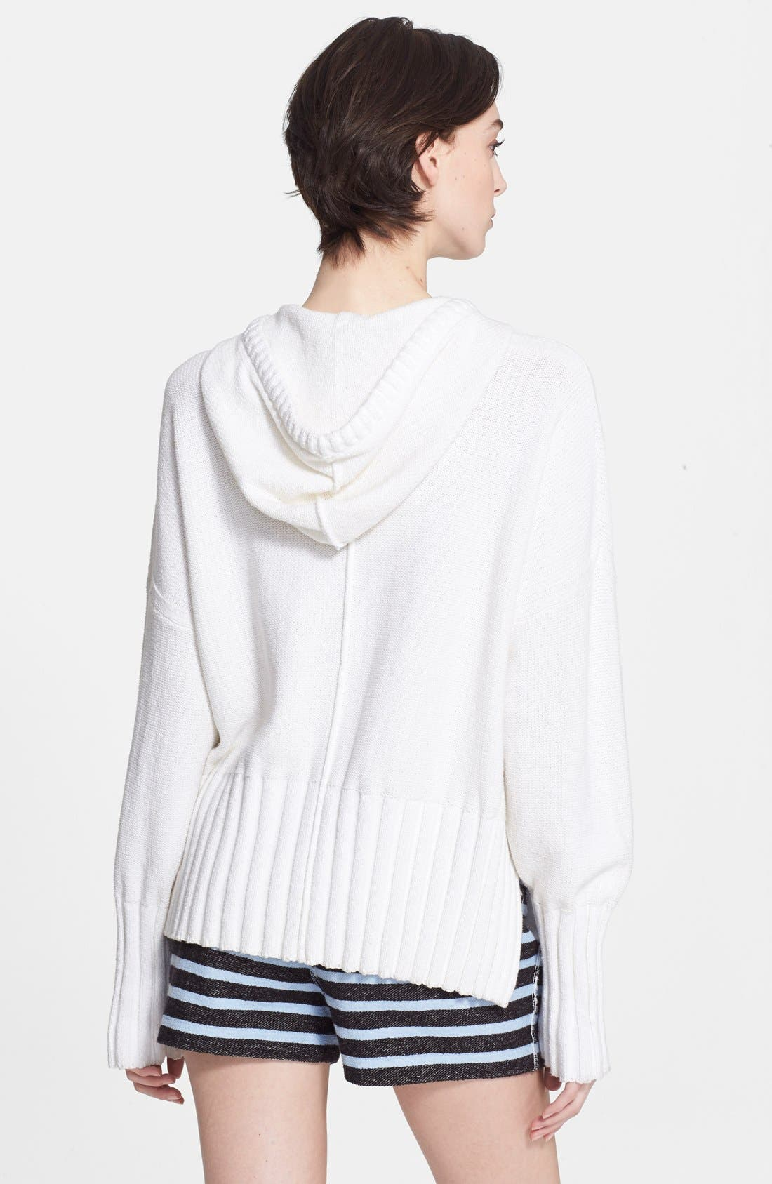 T by Alexander Wang Chunky Knit Hoodie,                             Alternate thumbnail 2, color,                             100
