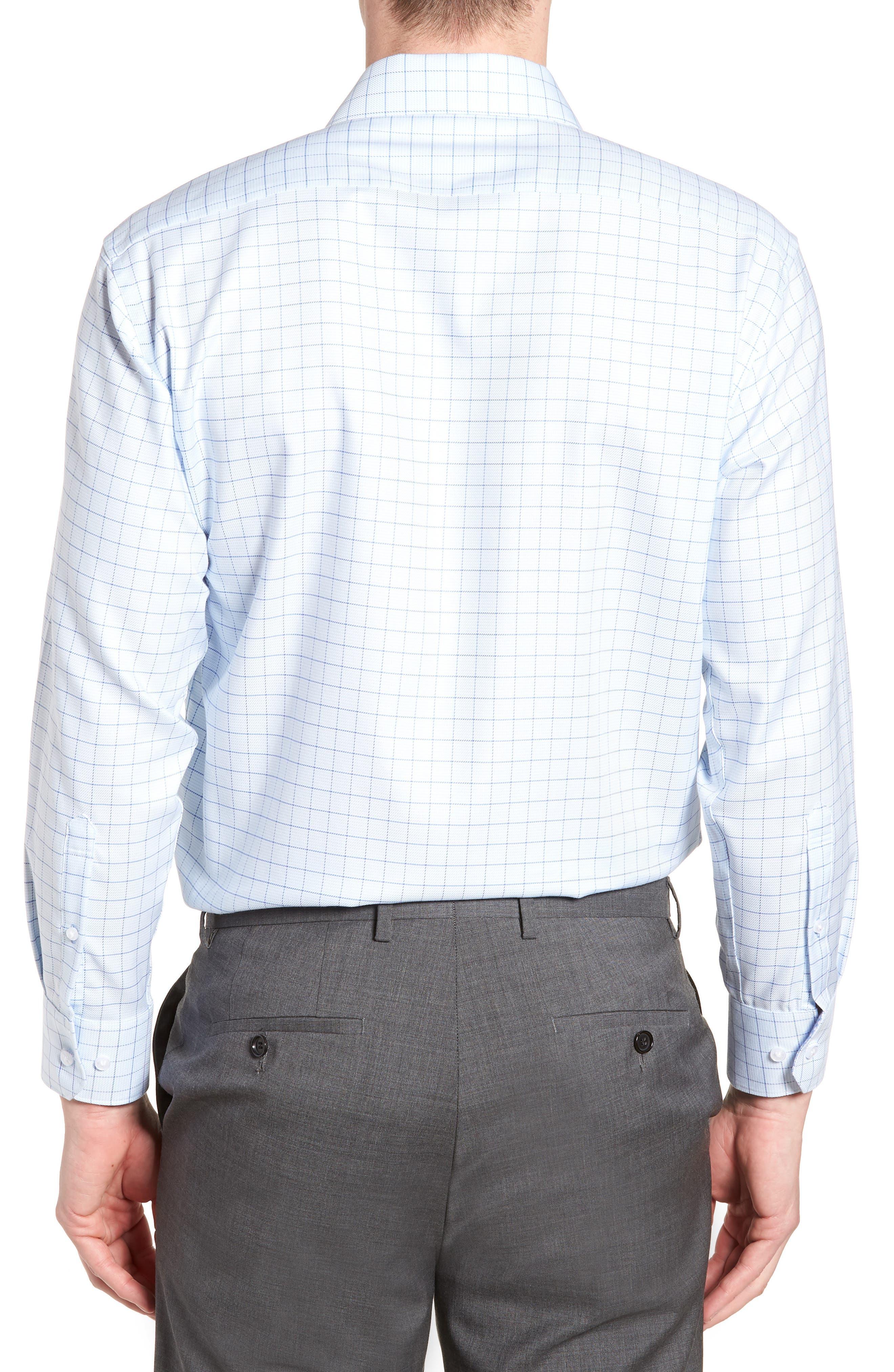 Alec Trim Fit Check Dress Shirt,                             Alternate thumbnail 3, color,                             LIGHT BLUE