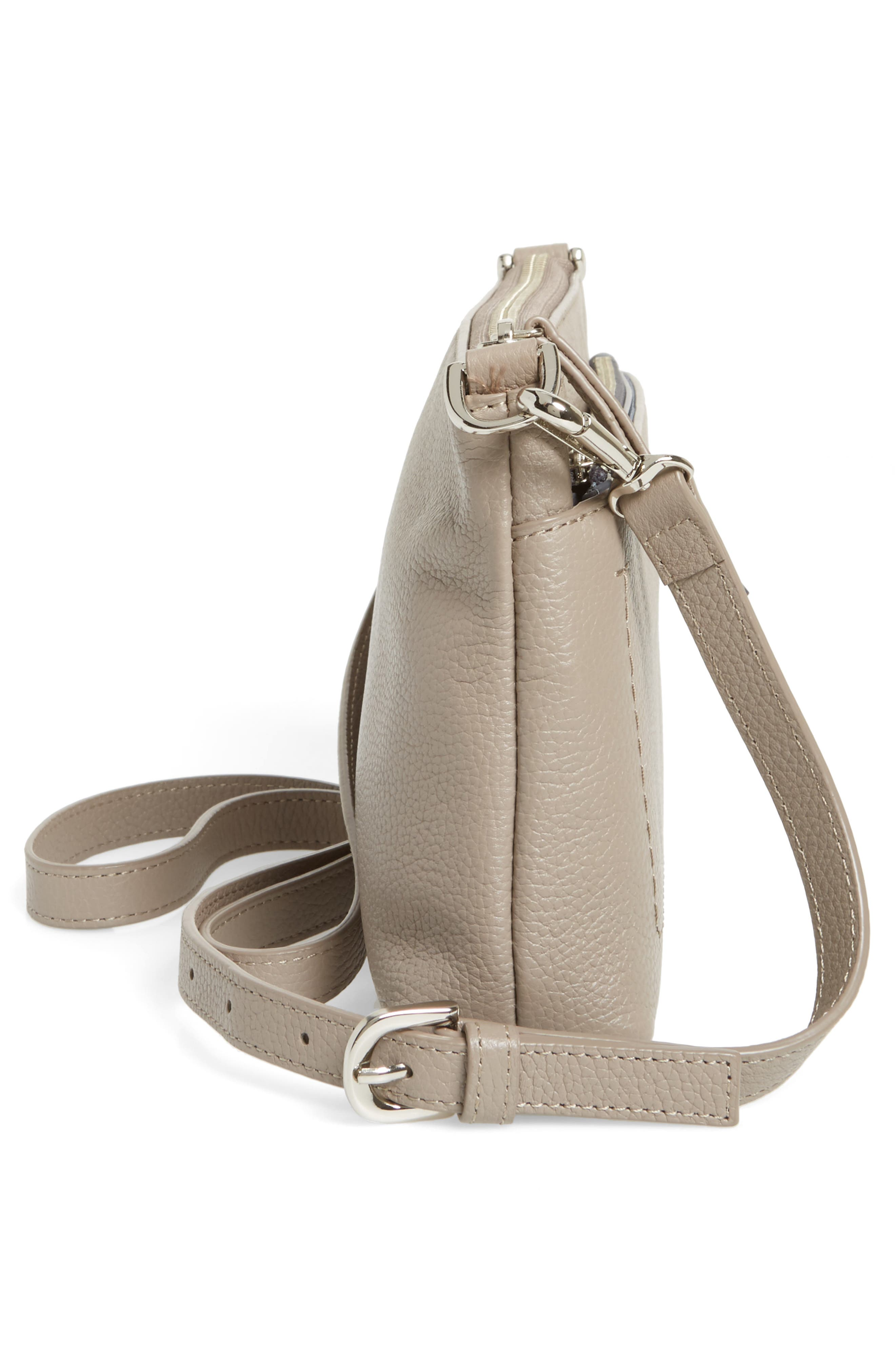 Brixton Convertible Leather Crossbody Bag with Pop-Out Card Holder,                             Alternate thumbnail 6, color,                             GREY TAUPE