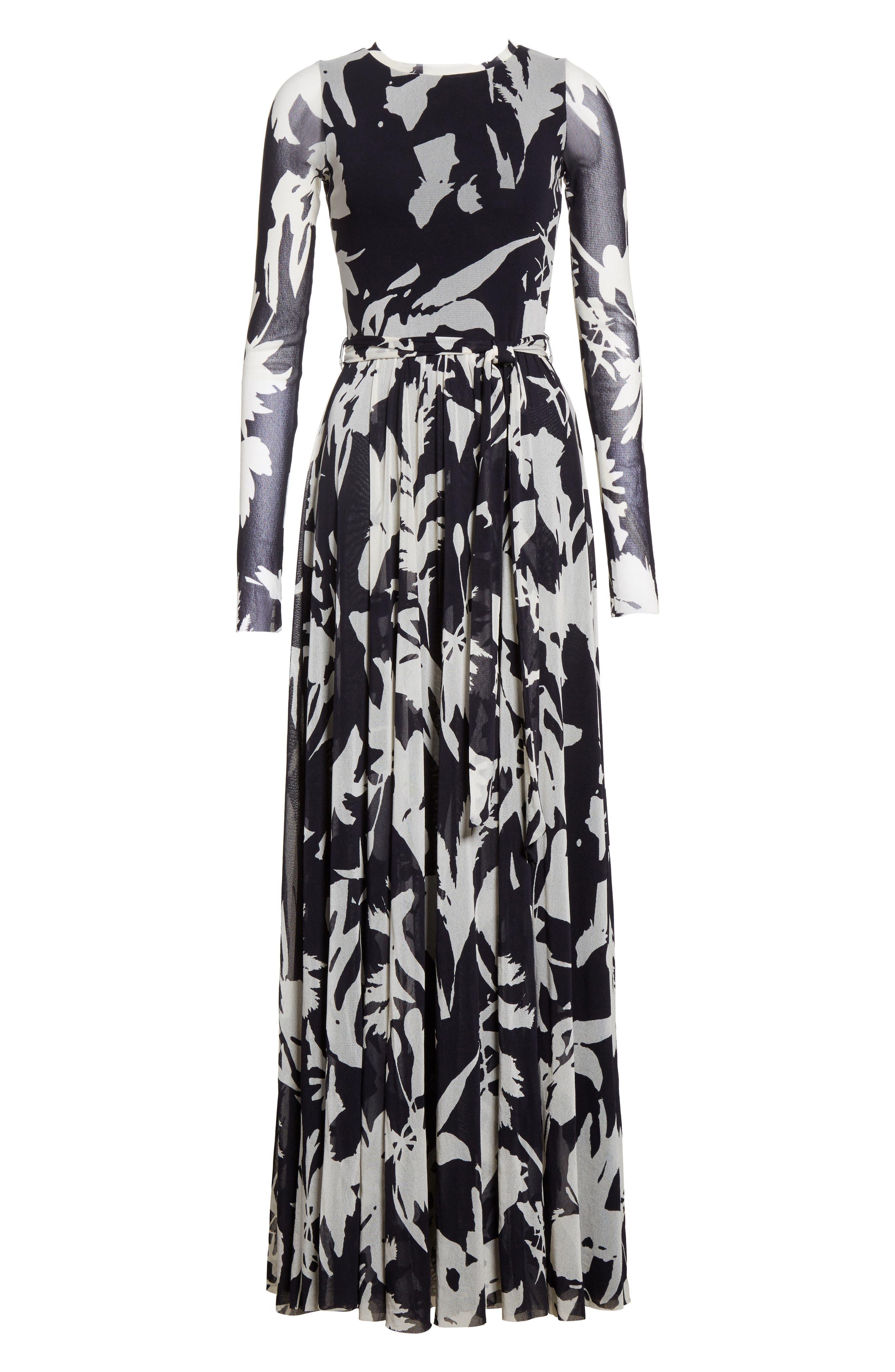 Bicolor Floral Print Tulle Maxi Dress,                             Alternate thumbnail 6, color,                             001