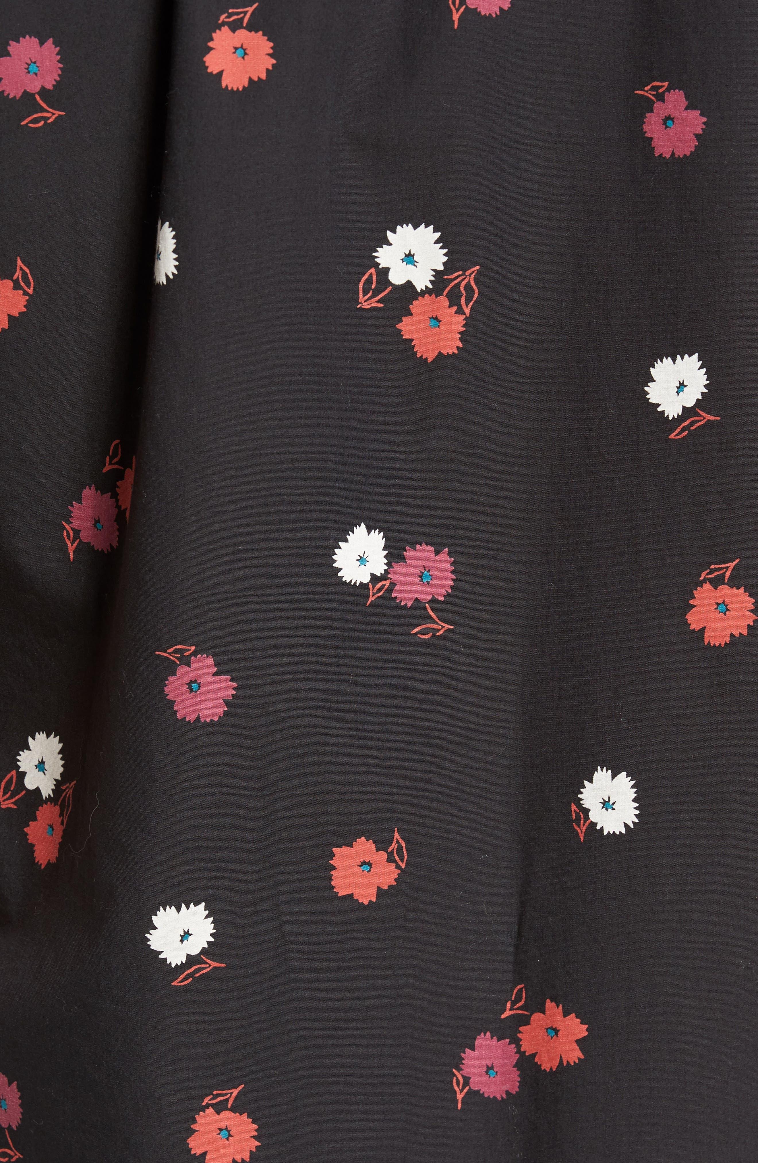 Slim Fit Floral Print Sport Shirt,                             Alternate thumbnail 5, color,                             001
