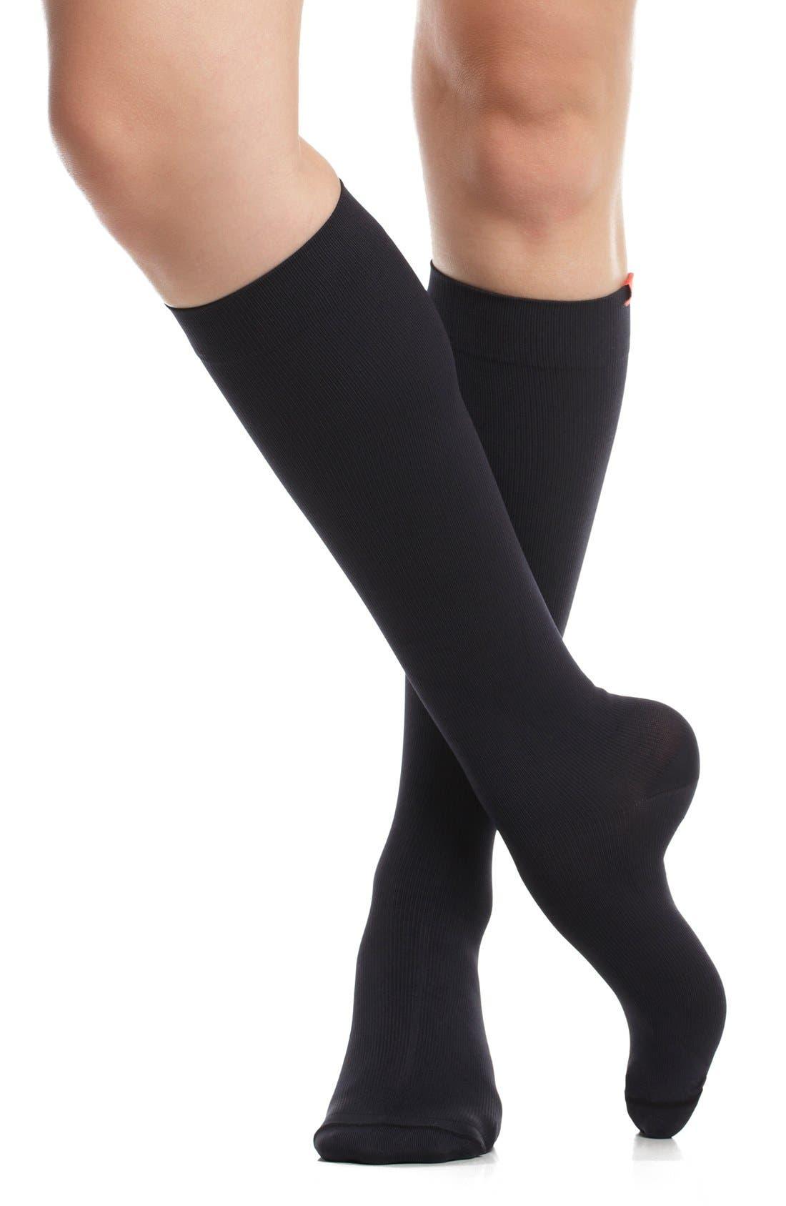 Solid Graduated Compression Trouser Socks,                             Alternate thumbnail 3, color,                             BLACK