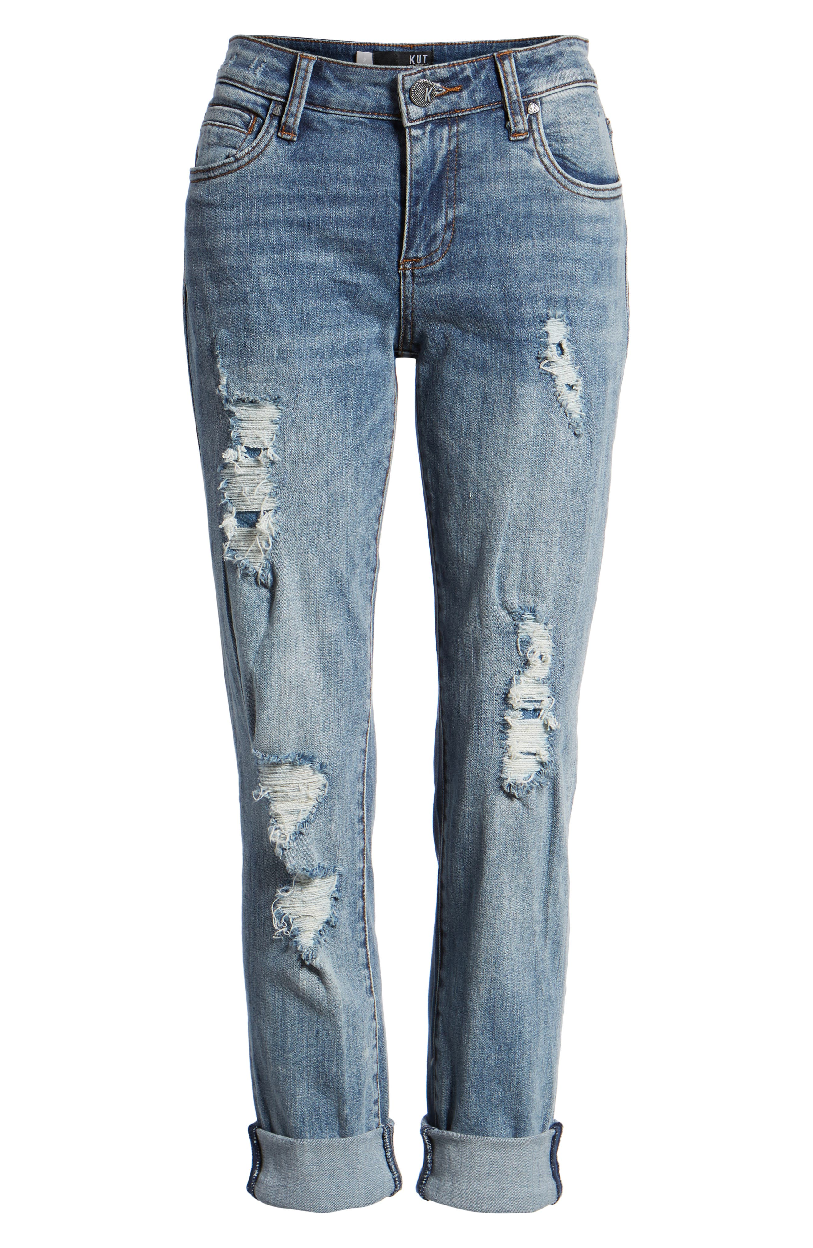 KUT from the Kloth Catherine Ripped Boyfriend Jeans,                             Alternate thumbnail 7, color,
