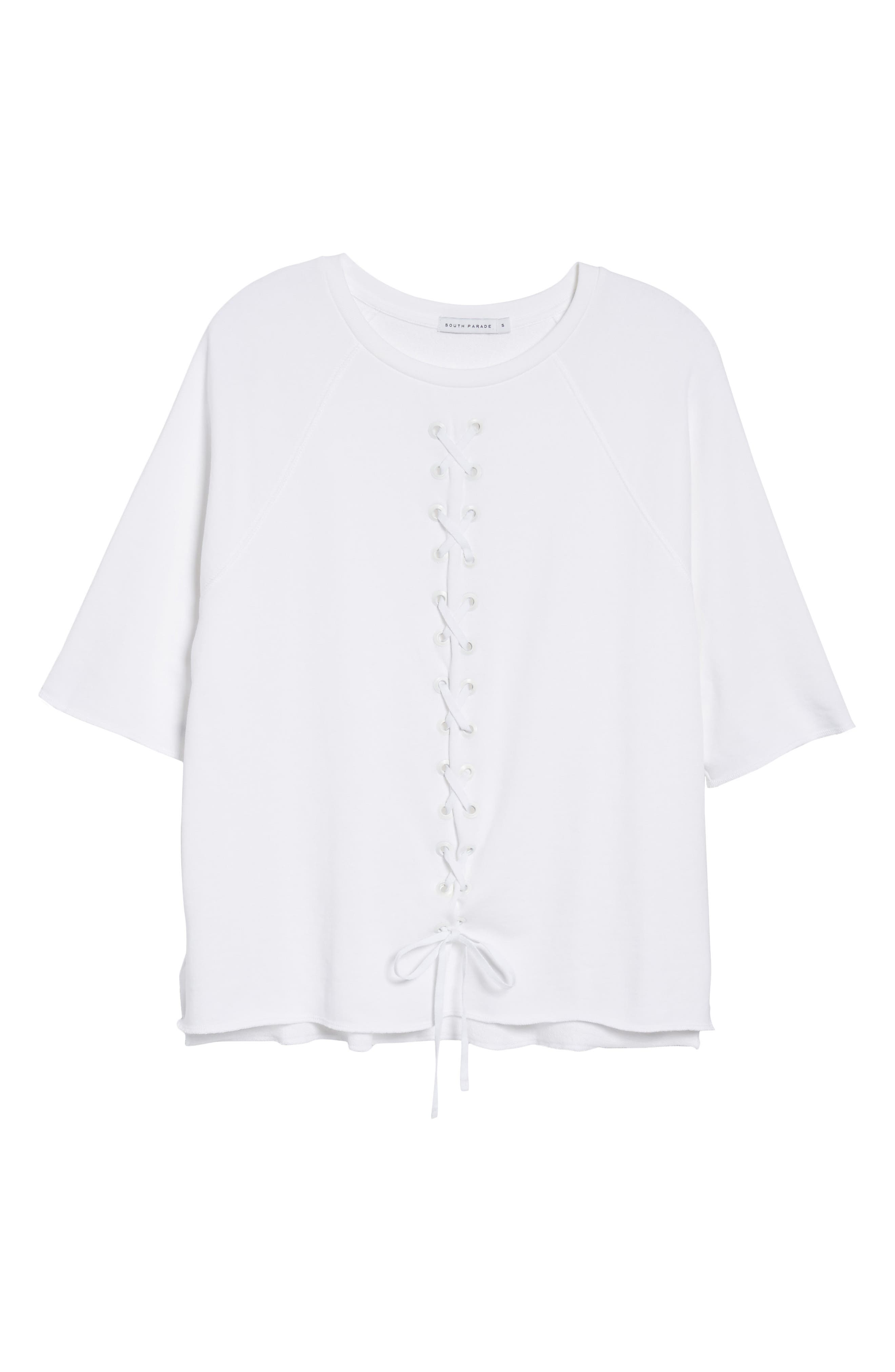 Julie - Vertical Eyelets Terry Top,                             Alternate thumbnail 6, color,                             WHITE