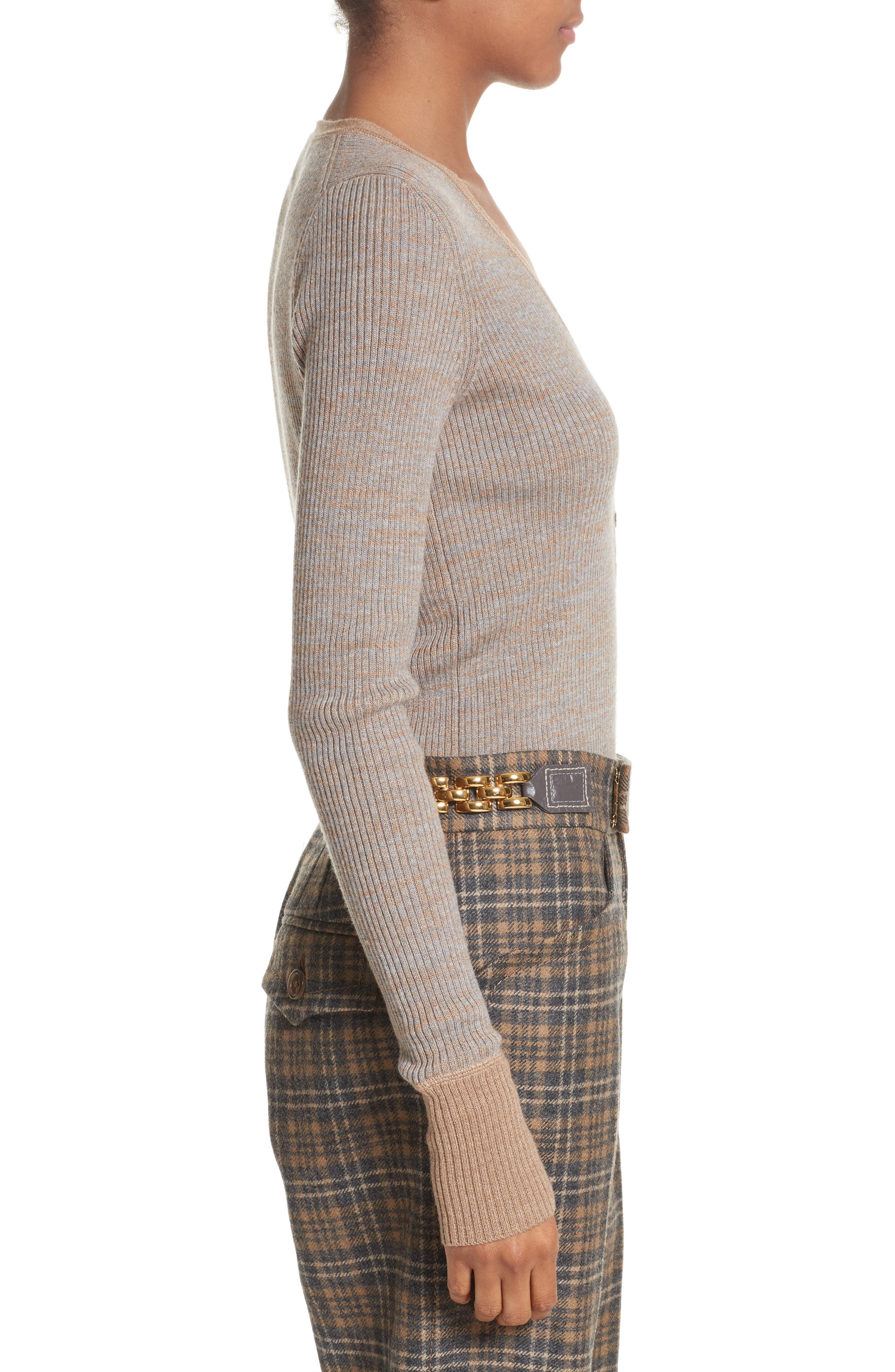 Ribbed V-Neck Wool Sweater,                             Alternate thumbnail 3, color,                             208