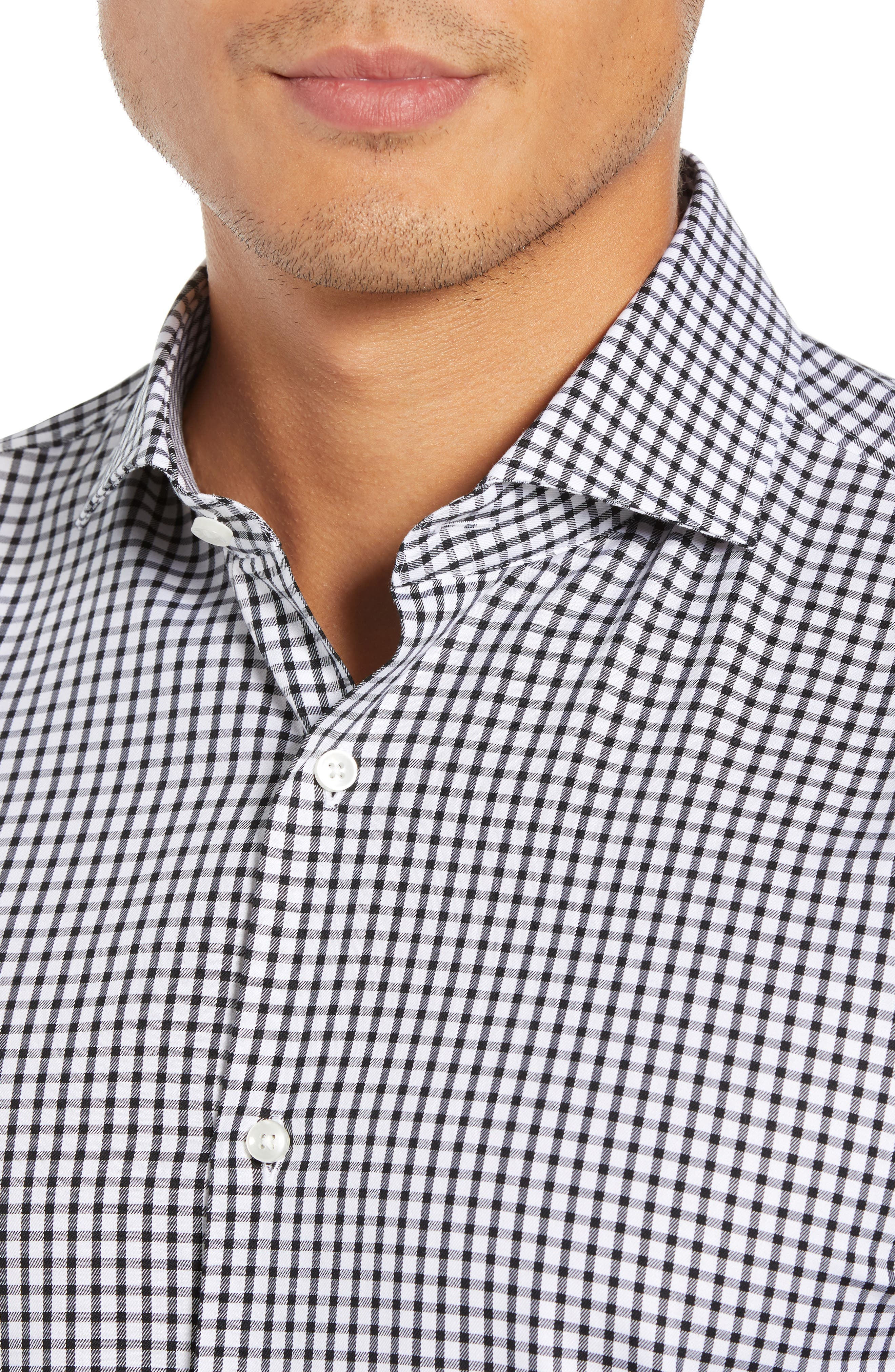 Jason Trim Fit Check Dress Shirt,                             Alternate thumbnail 2, color,                             002