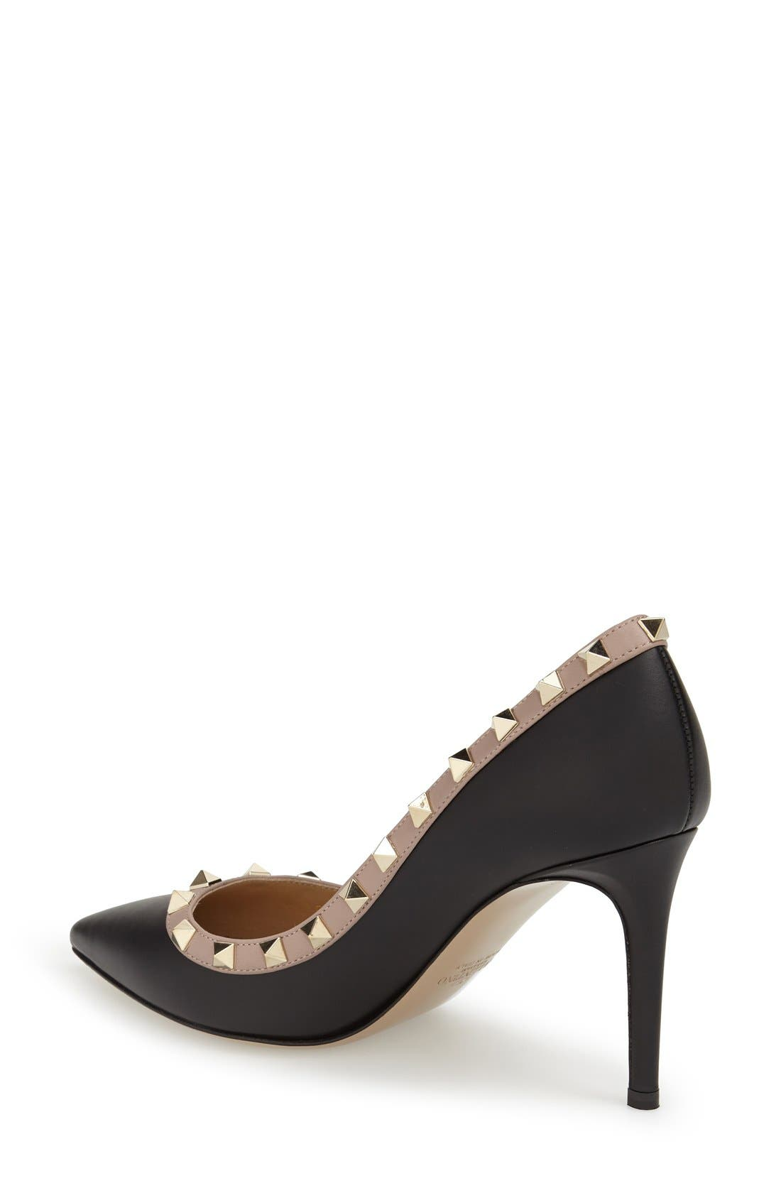 Rockstud Pointy Toe Pump,                             Alternate thumbnail 5, color,                             BLACK LEATHER