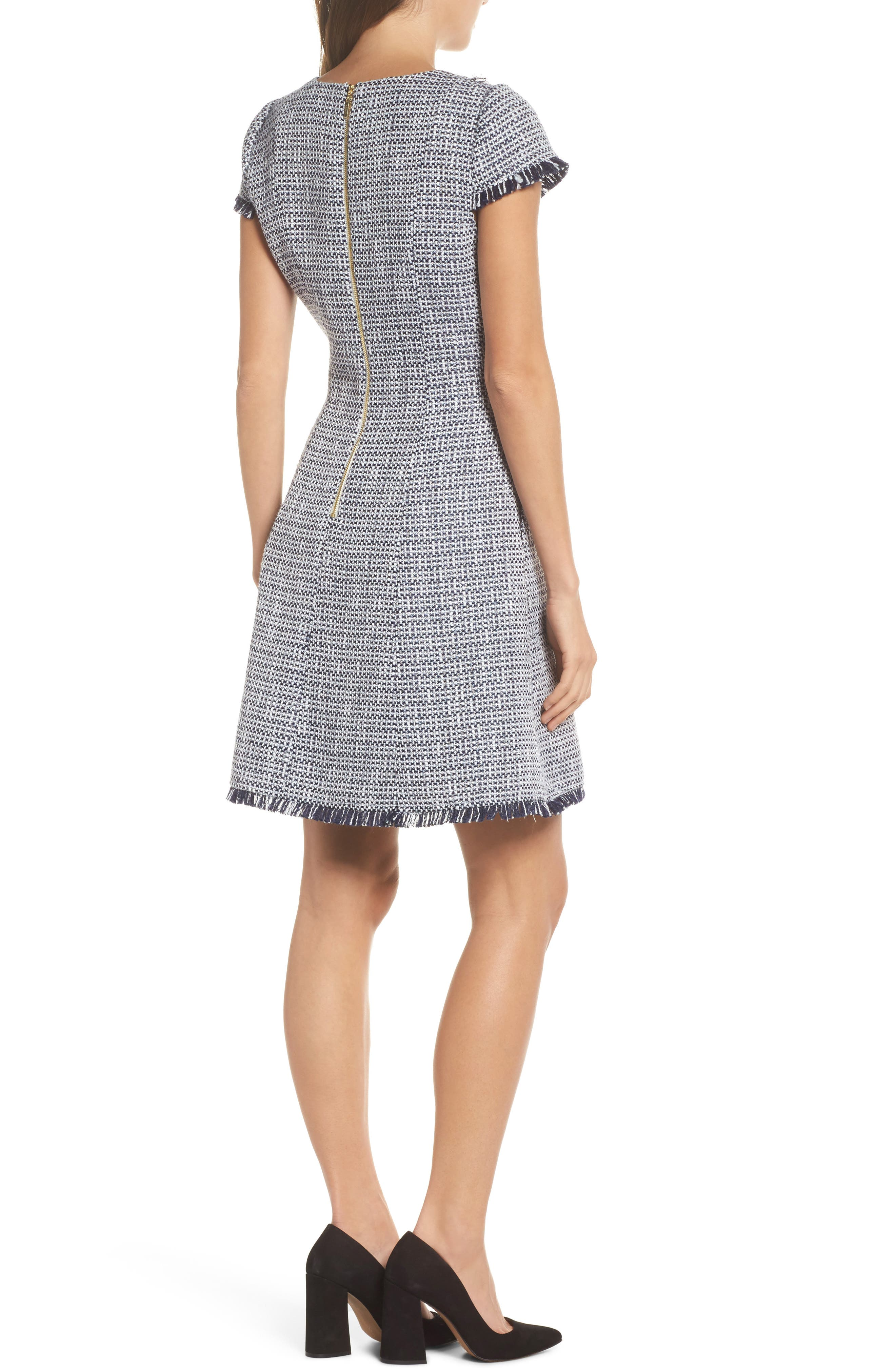 Tweed Fit & Flare Dress,                             Alternate thumbnail 2, color,                             410