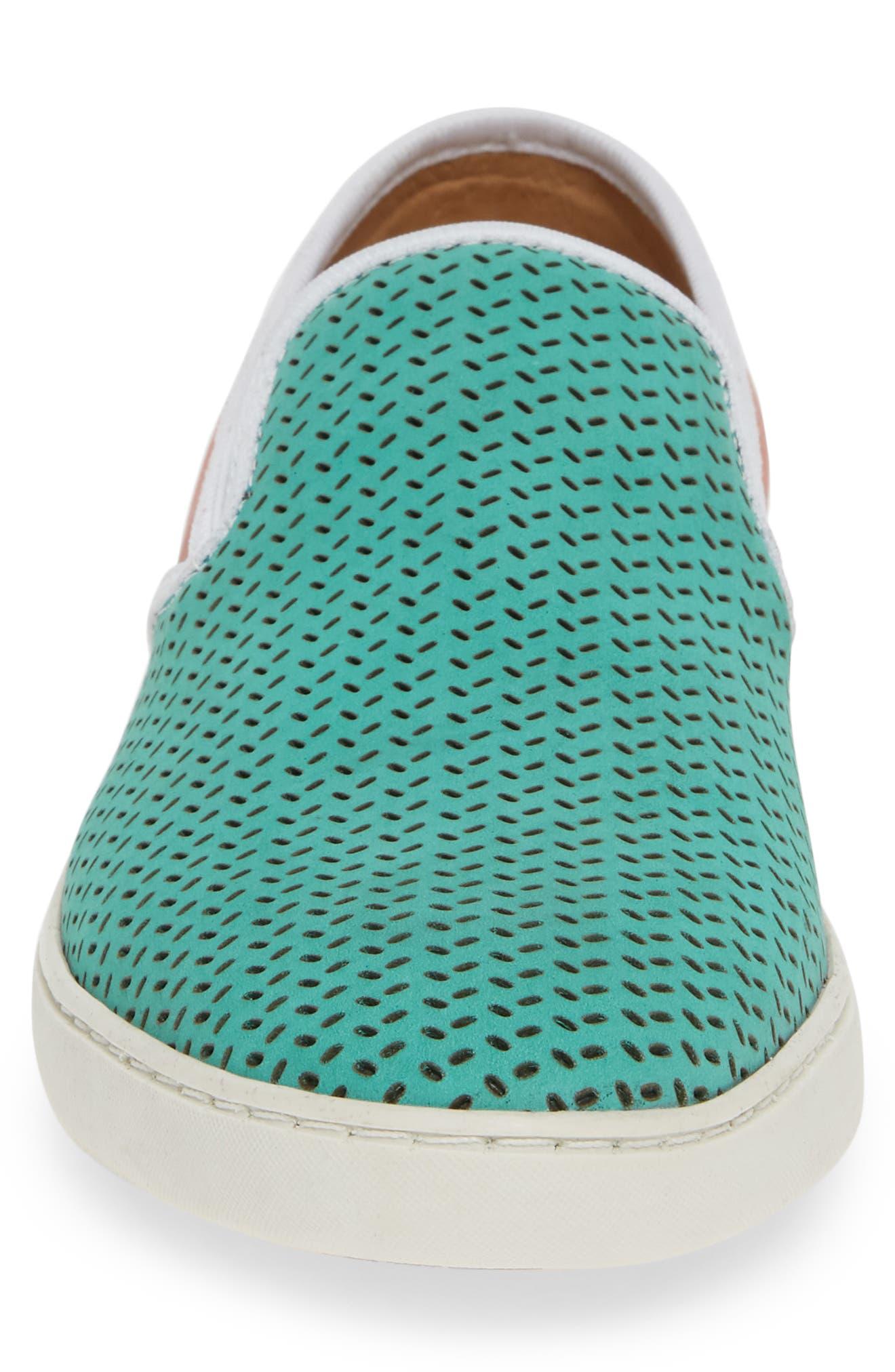 Malibu Perforated Loafer,                             Alternate thumbnail 4, color,                             AQUA/PINK NUBUCK