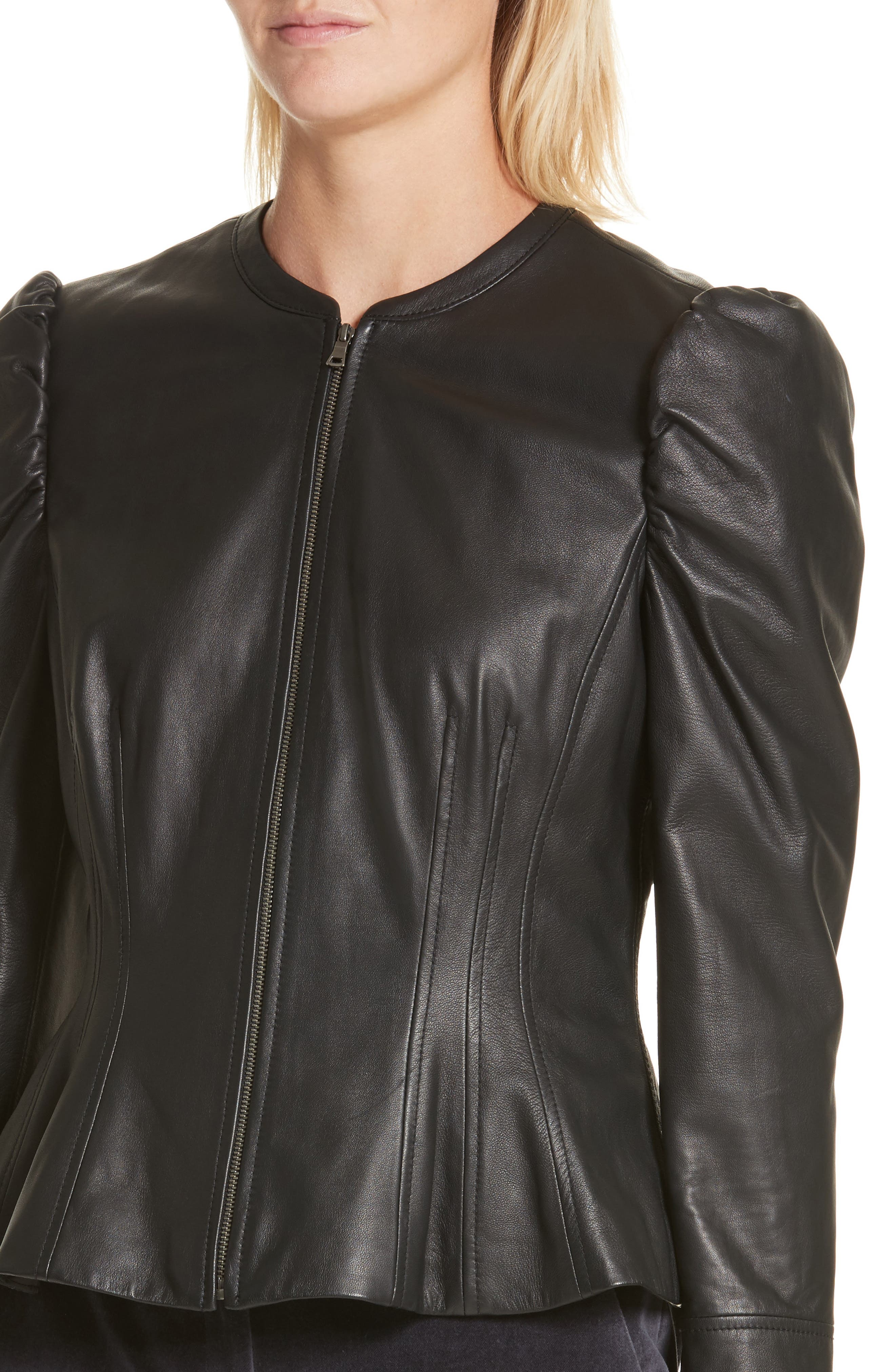 Victorian Leather Jacket,                             Alternate thumbnail 4, color,                             001