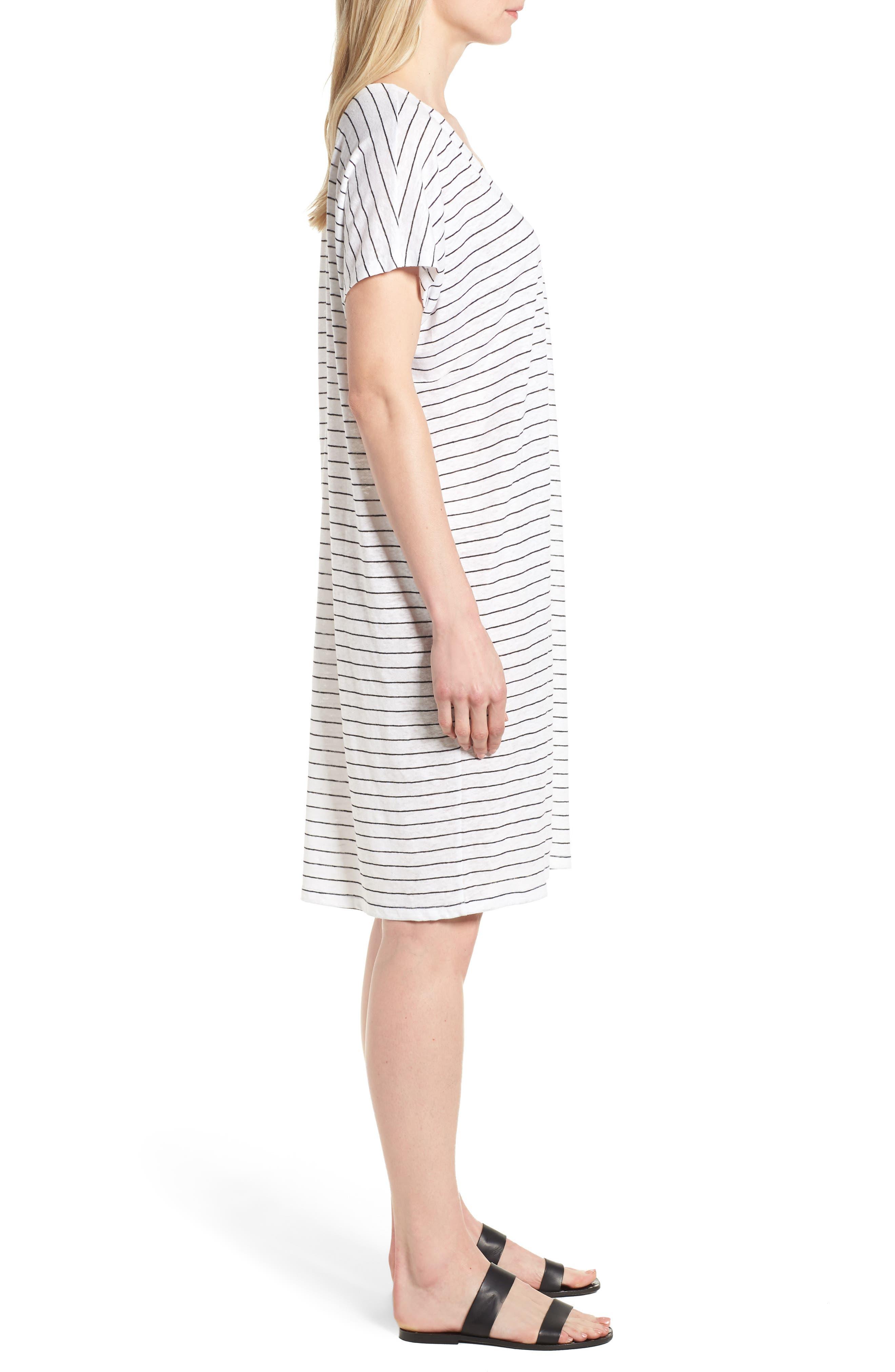 Stripe Organic Linen Shift Dress,                             Alternate thumbnail 3, color,                             120