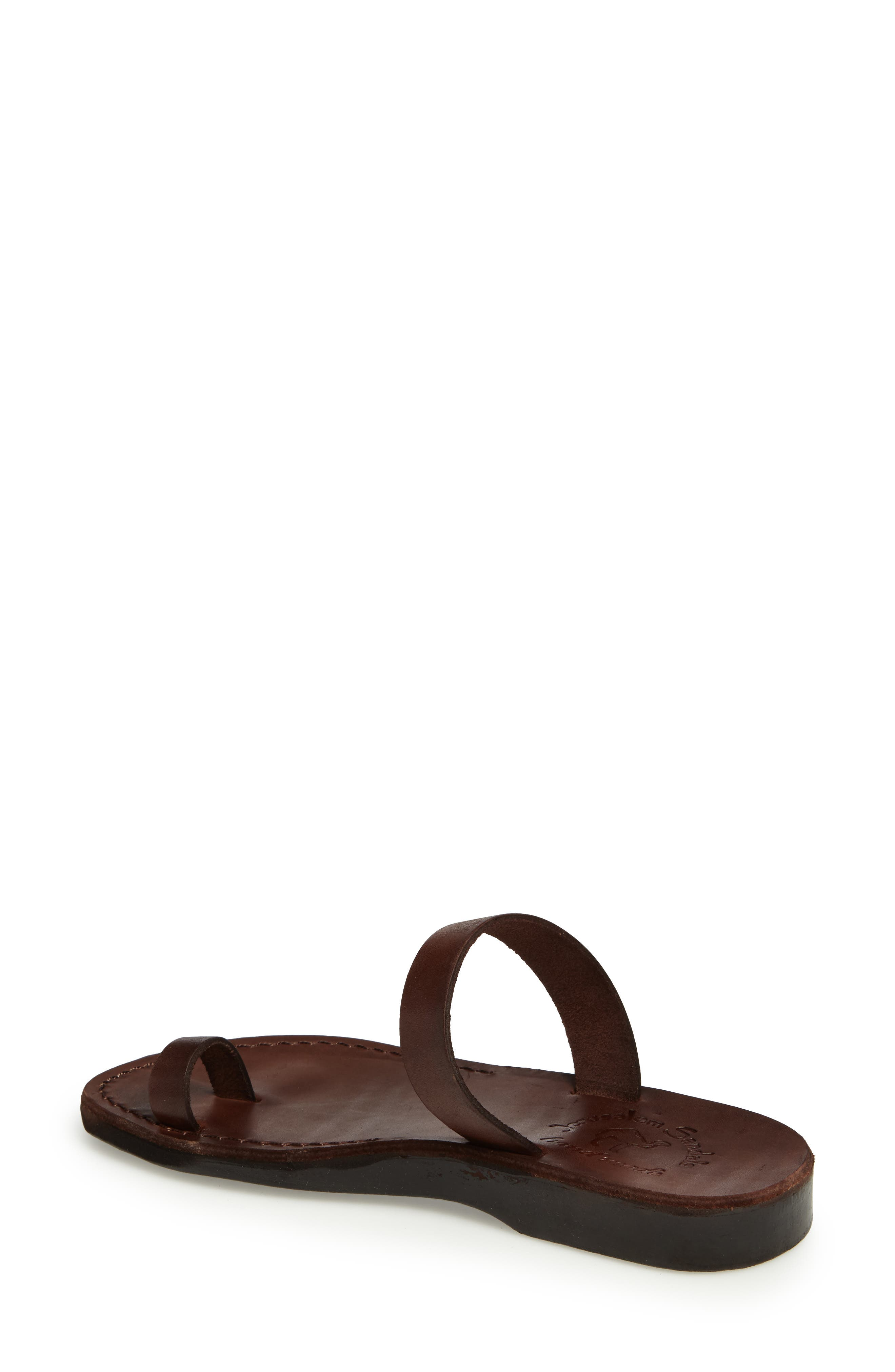 Eden Toe Loop Sandal,                             Alternate thumbnail 2, color,                             BROWN LEATHER