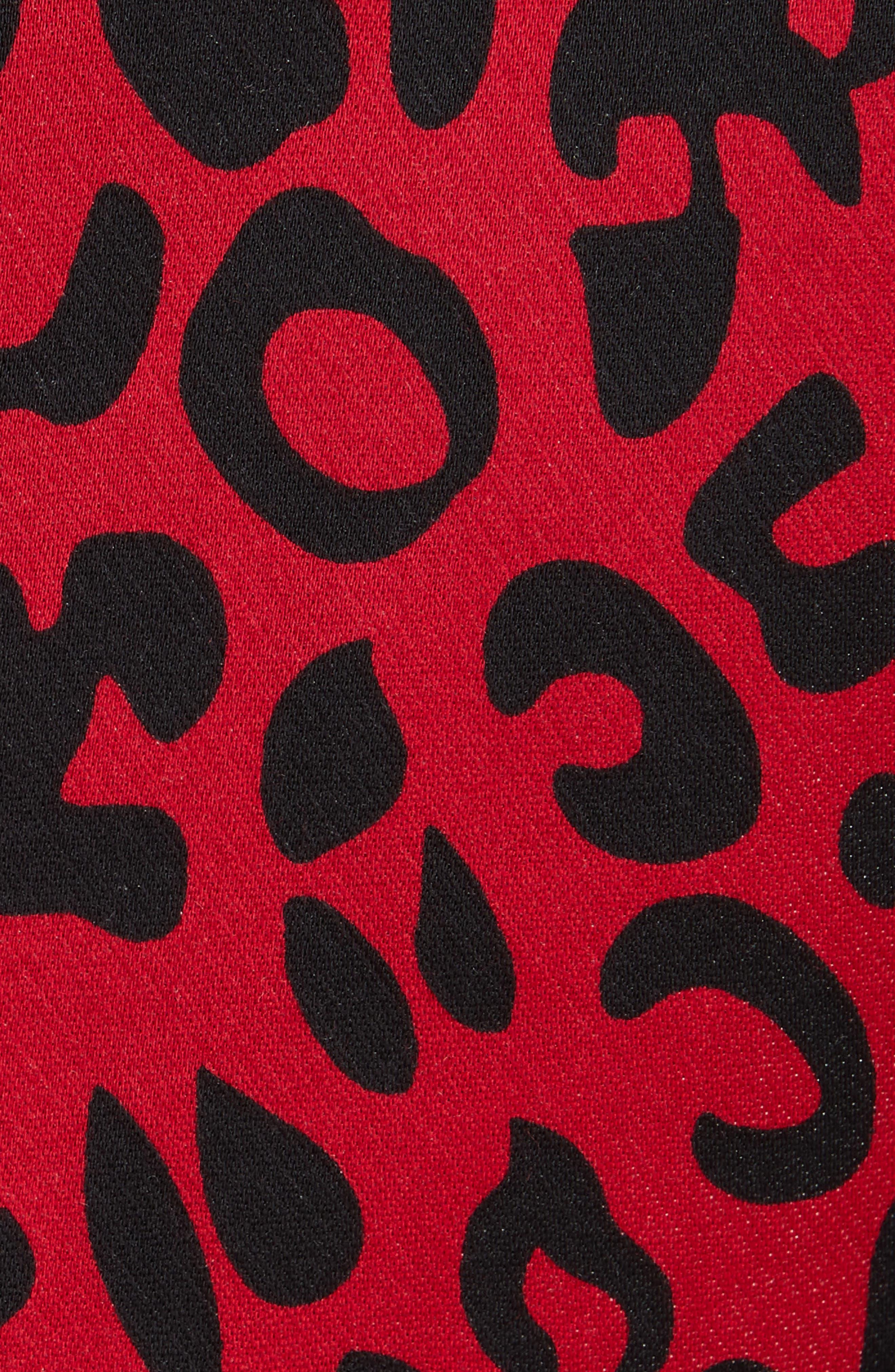 Leopard Print Blazer,                             Alternate thumbnail 6, color,                             RED LEOPARD
