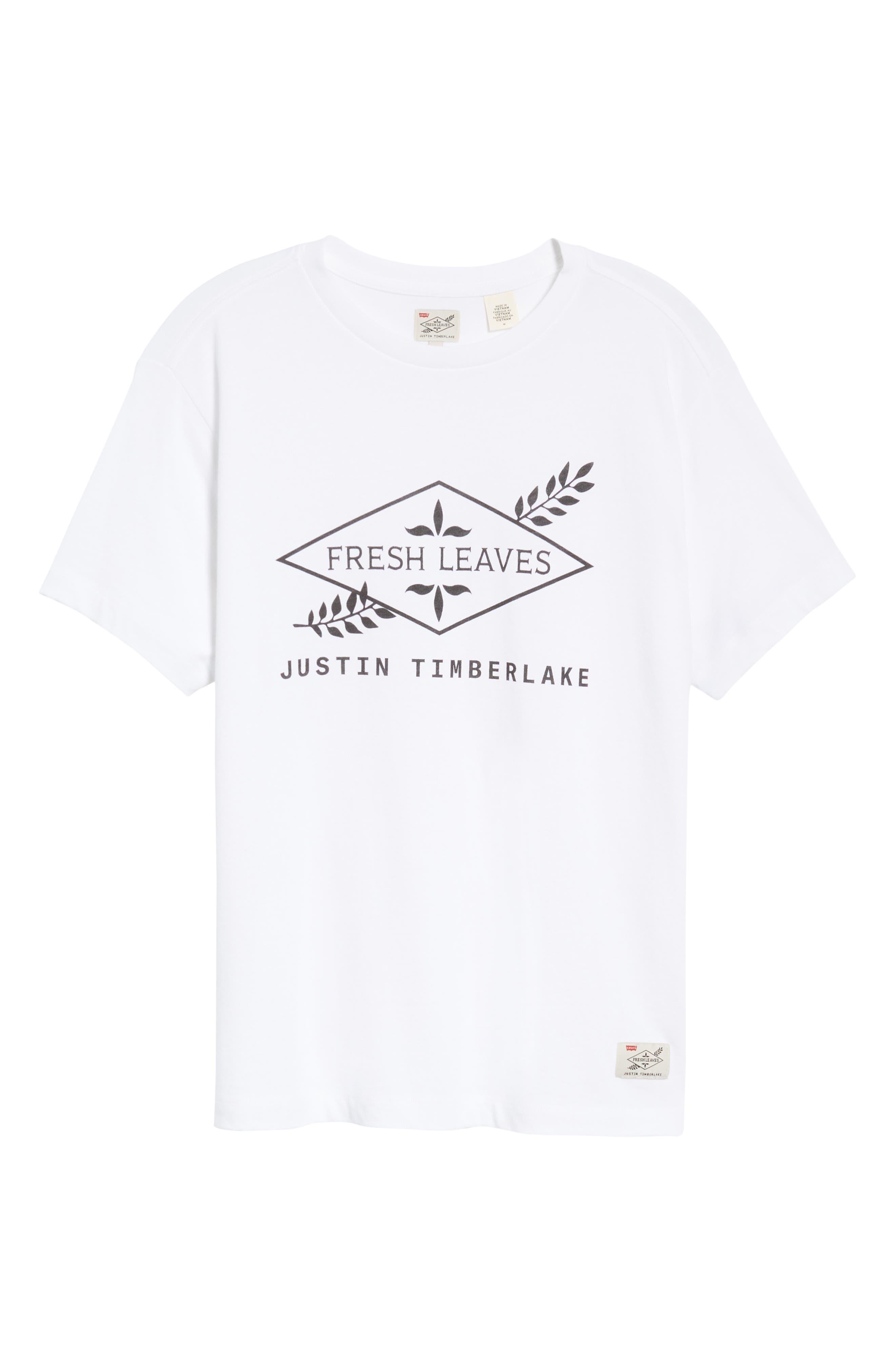 x Justin Timberlake Logo Graphic T-Shirt,                             Alternate thumbnail 6, color,                             FRESH LEAVES WHITE