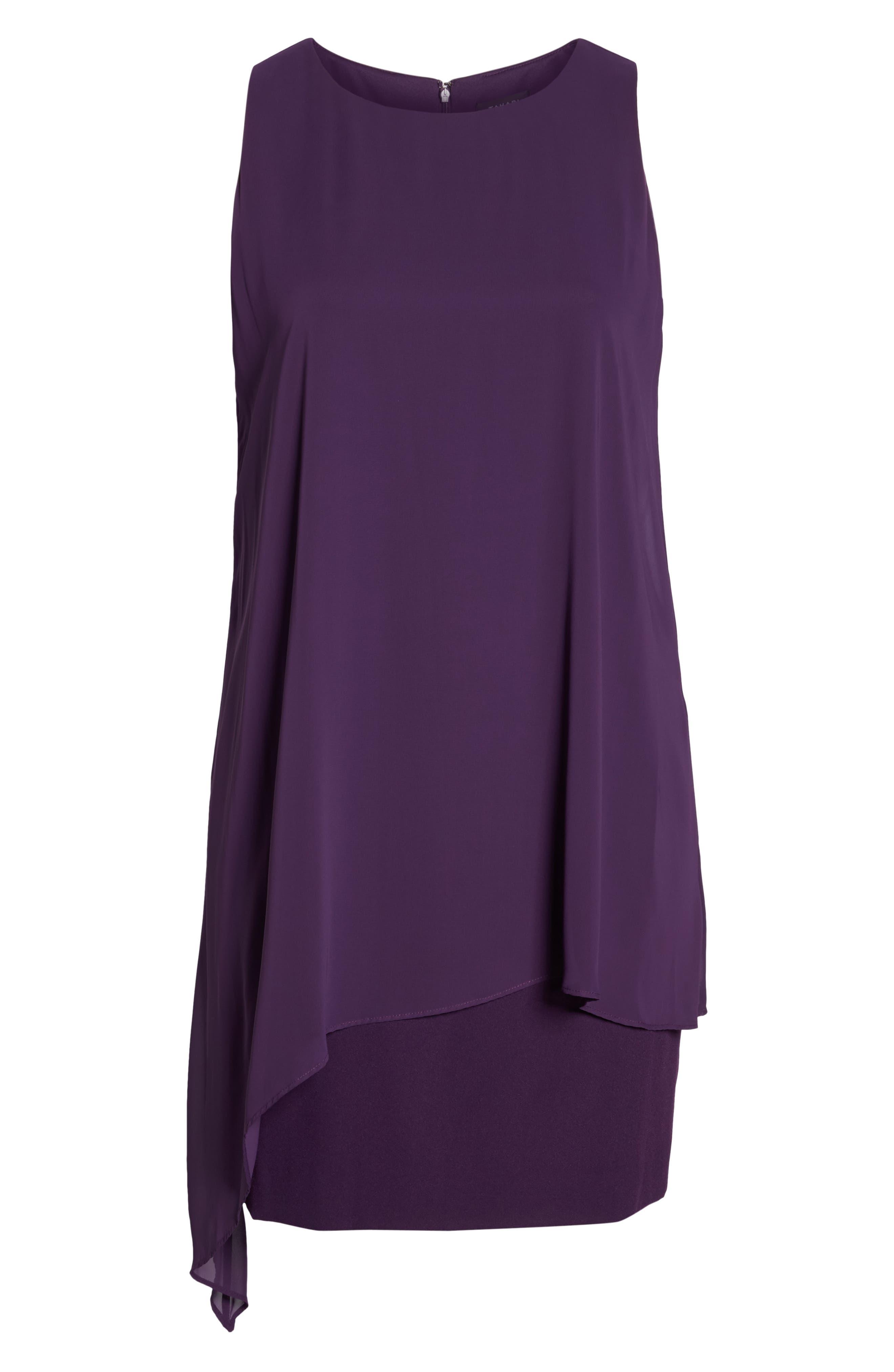 Chiffon Overlay Sheath Dress,                             Alternate thumbnail 7, color,                             PLUM