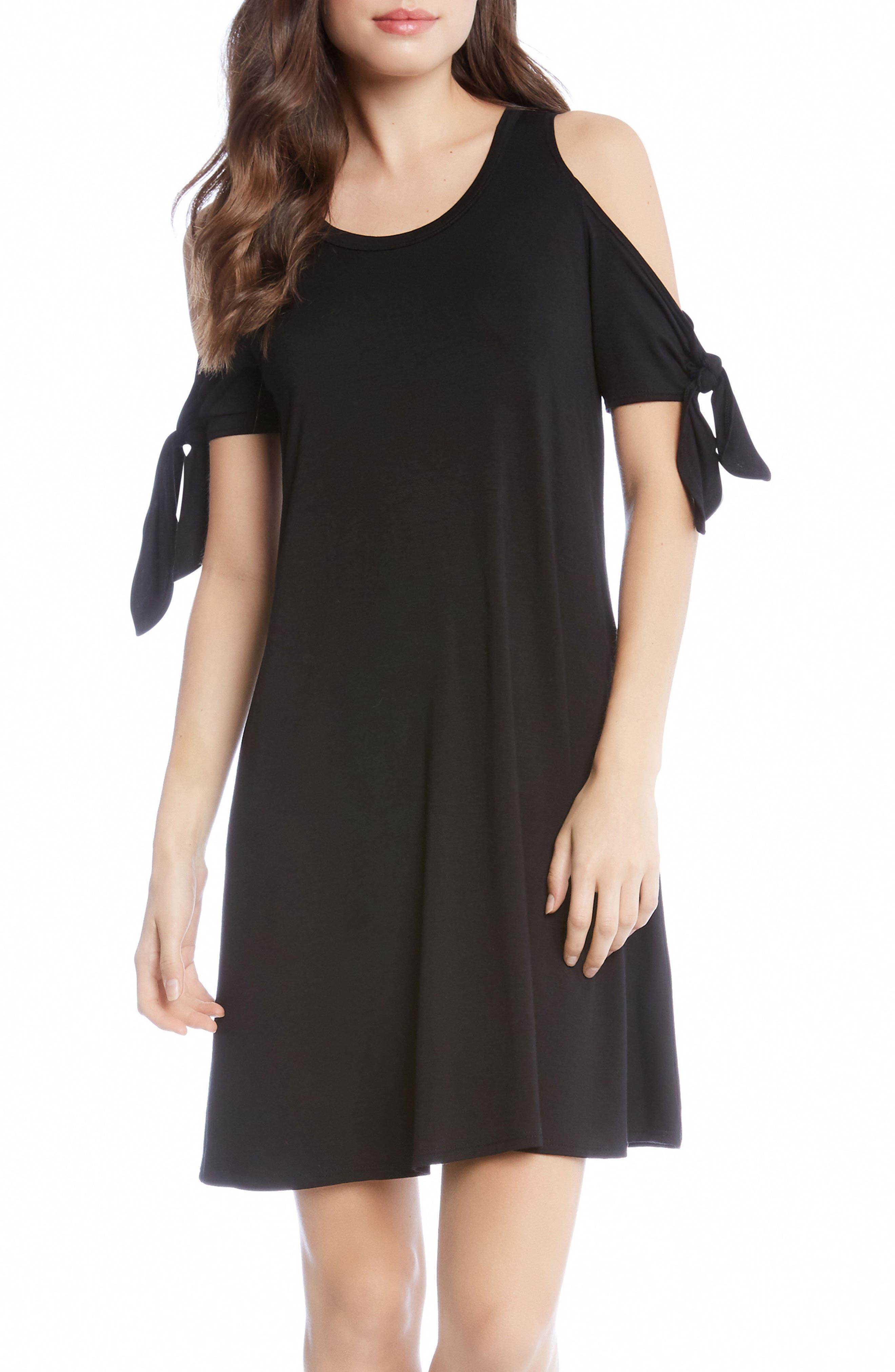 Knotted Cold Shoulder A-Line Dress,                         Main,                         color, 001