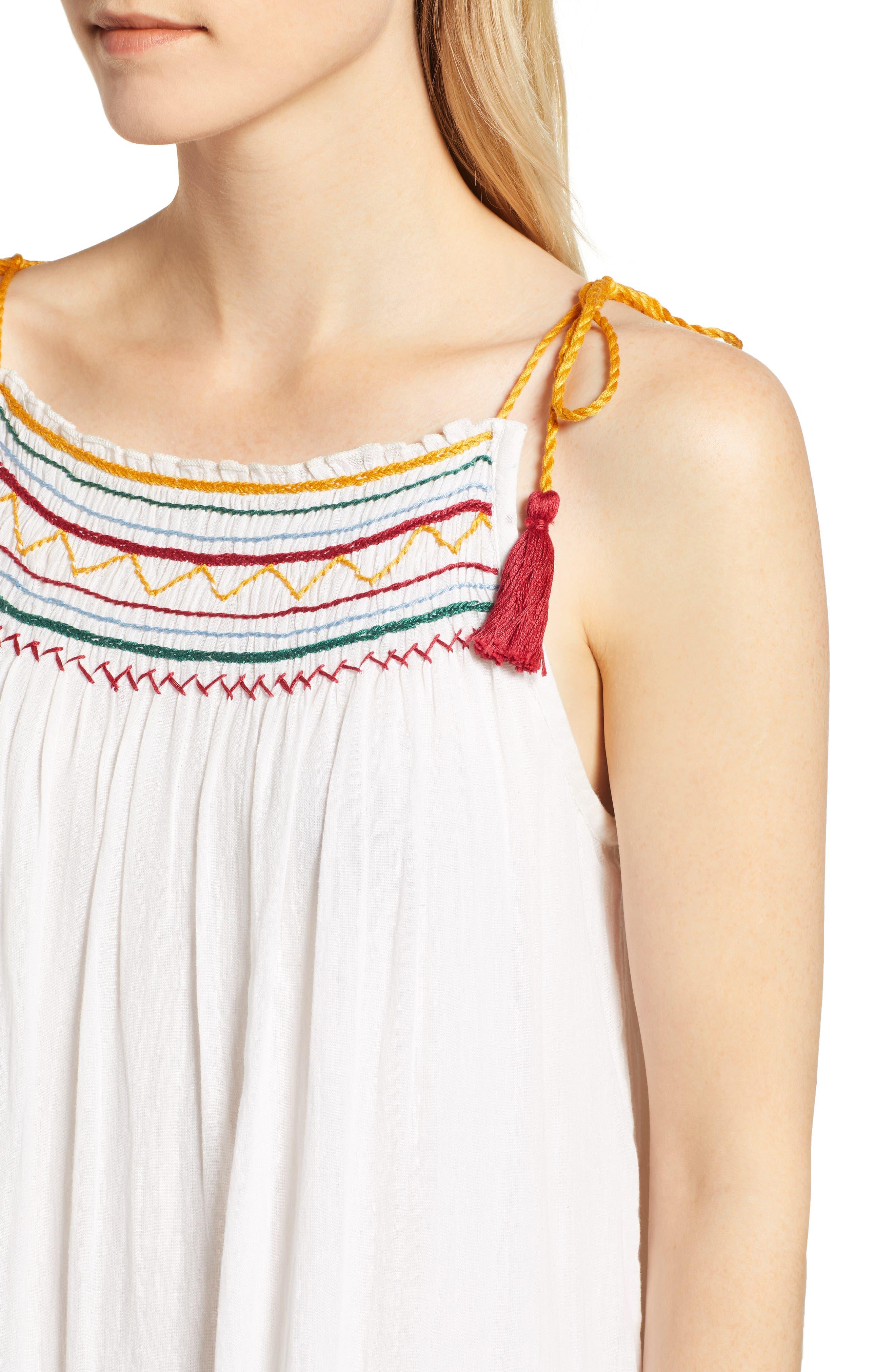 Embroidered Gauze Midi Dress,                             Alternate thumbnail 4, color,                             124