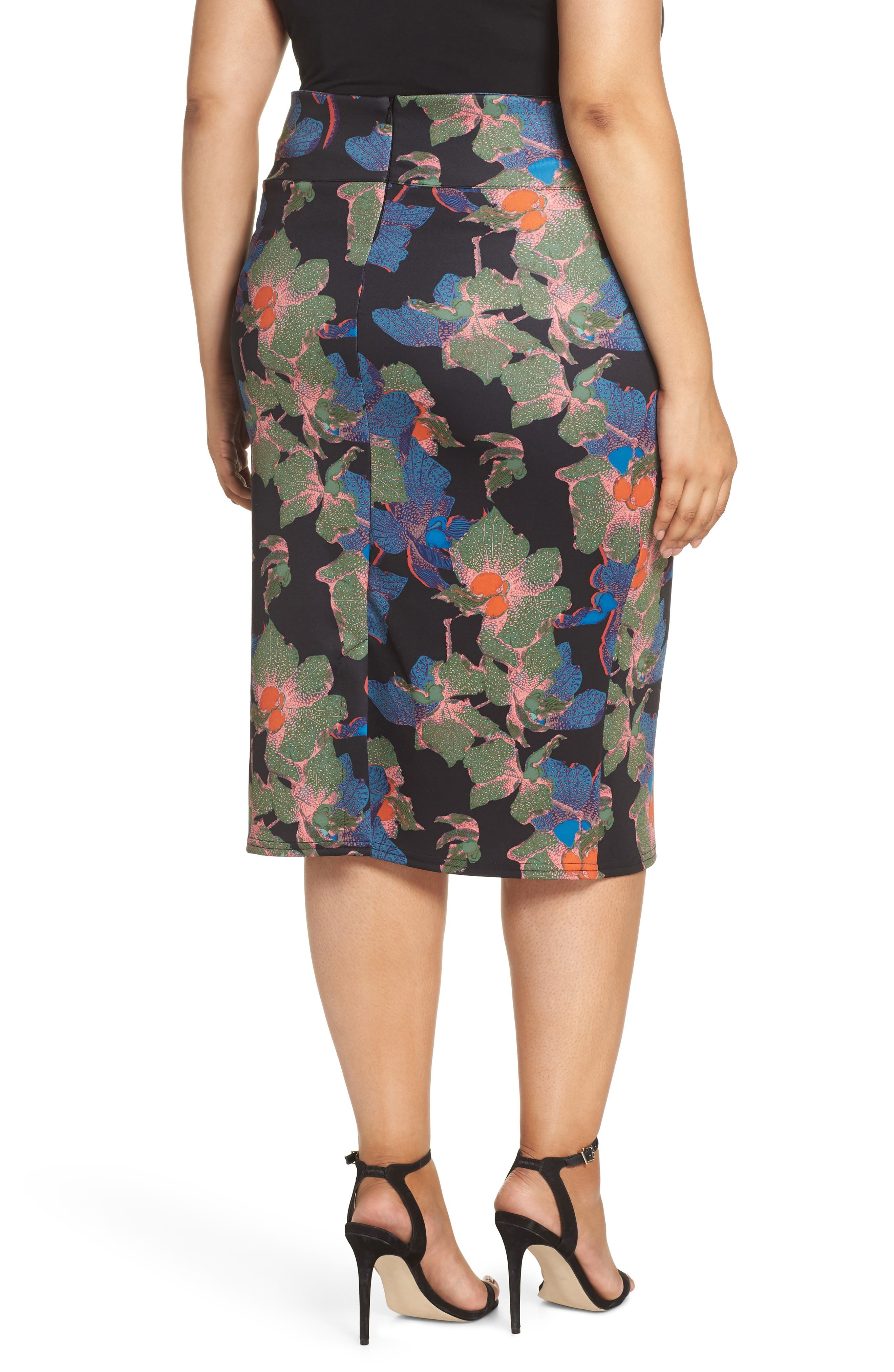 Ivy Floral Bow Detail Pencil Skirt,                             Alternate thumbnail 2, color,                             300