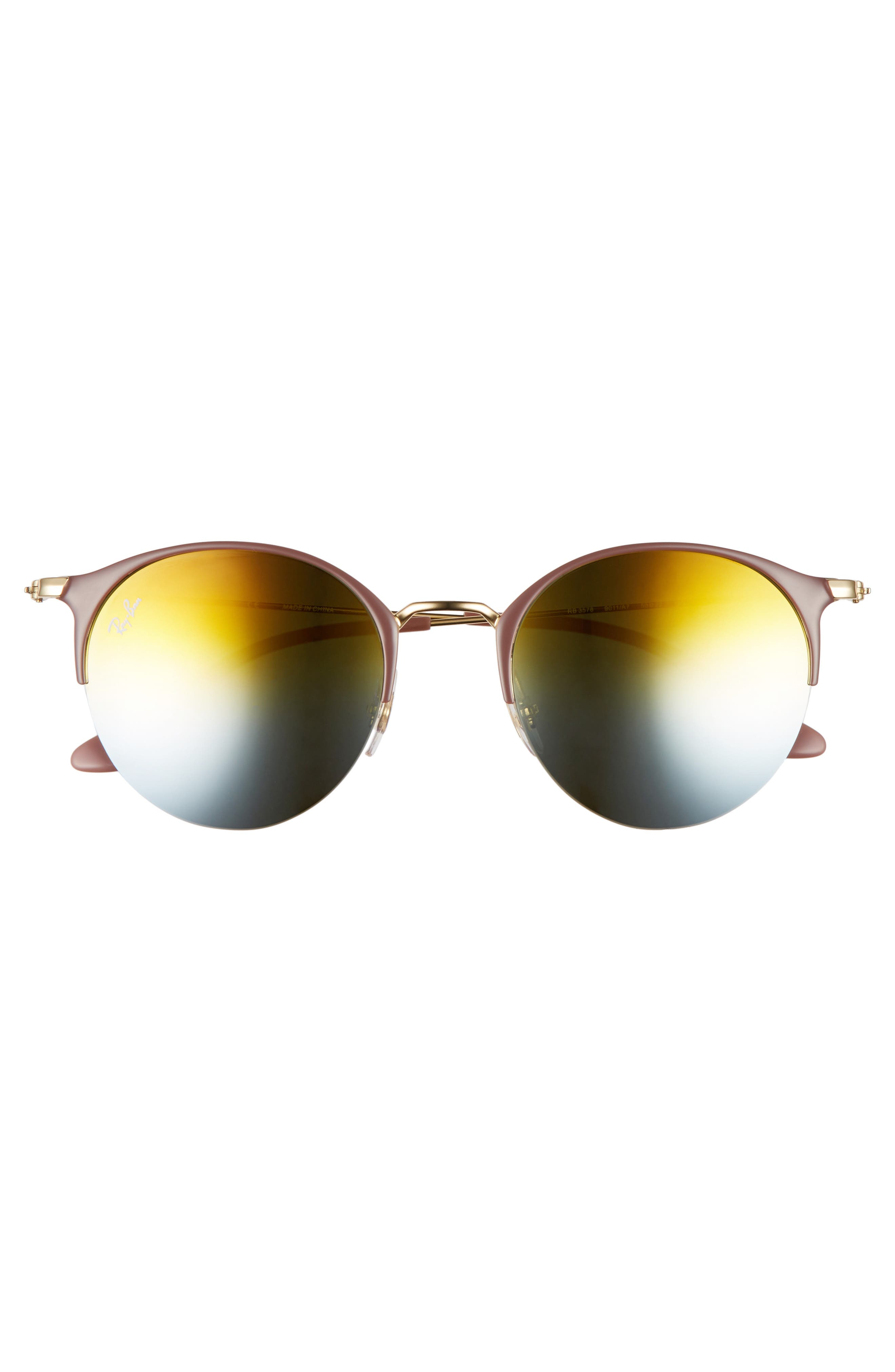 50mm Round Sunglasses,                             Alternate thumbnail 2, color,                             GOLD TOP/ GREEN GRADIENT