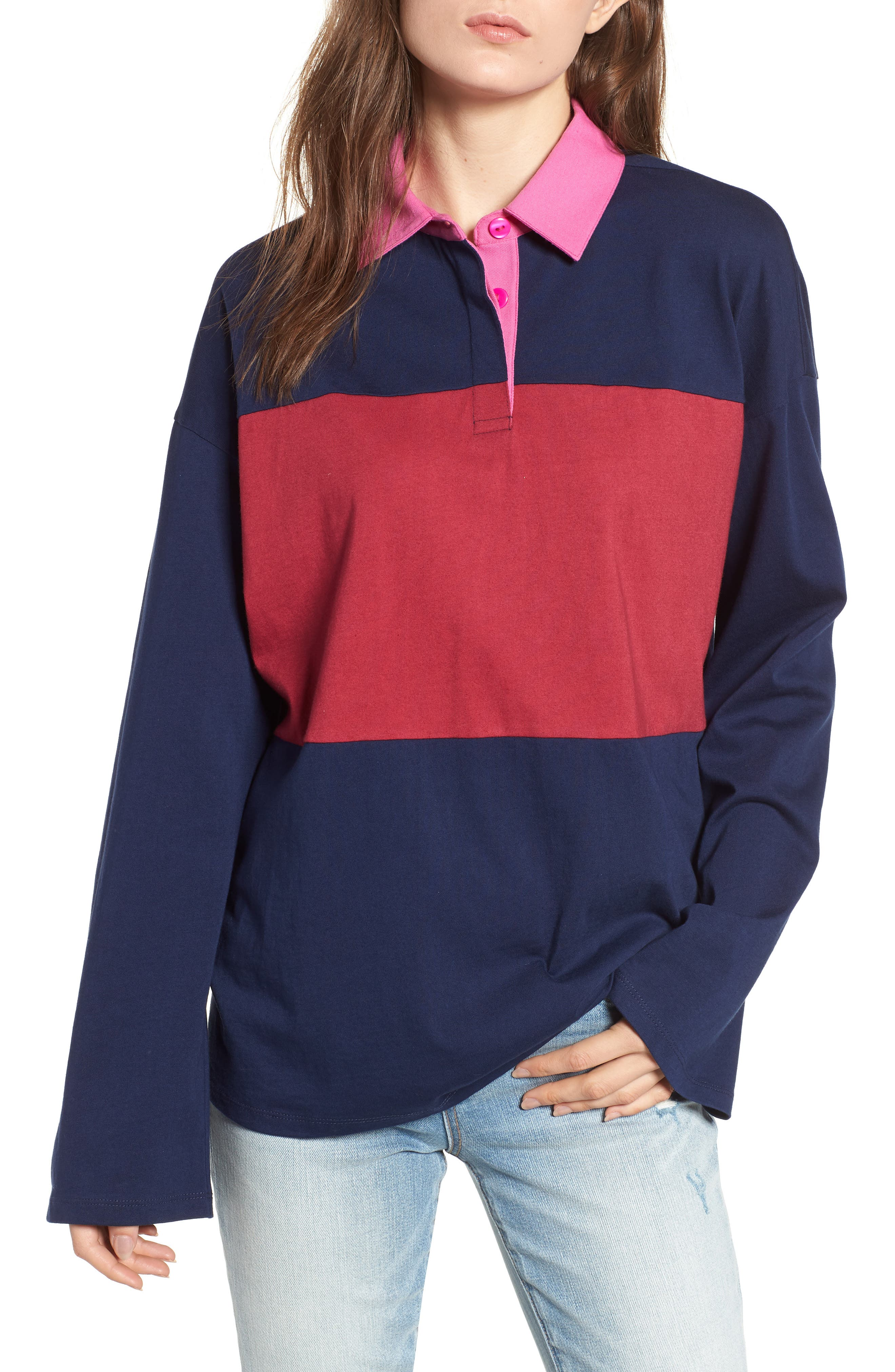 Rugby Polo,                             Main thumbnail 1, color,                             NAVY MARITIME