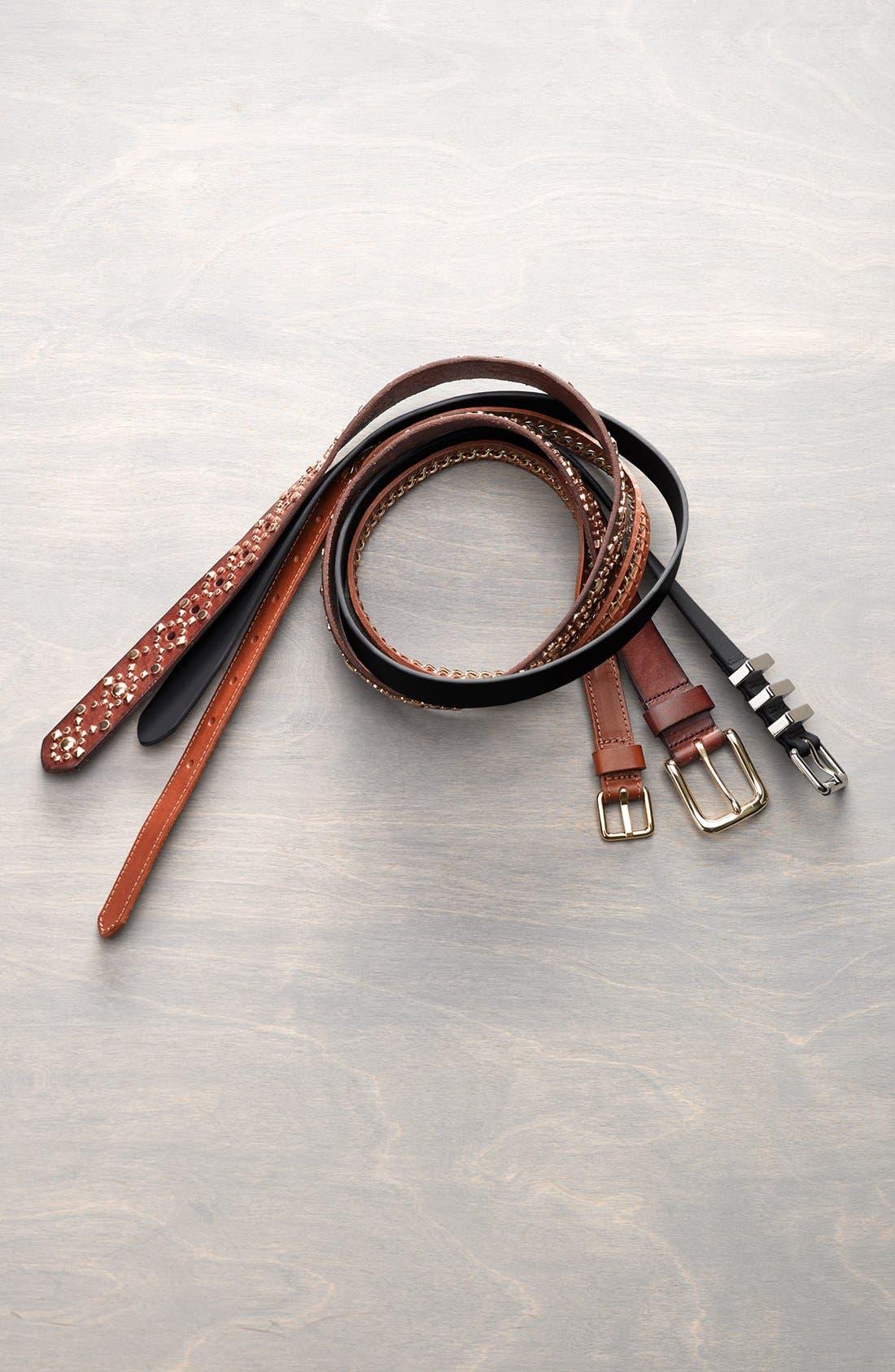 'Gigi' Calfskin Leather Belt,                             Alternate thumbnail 3, color,                             002