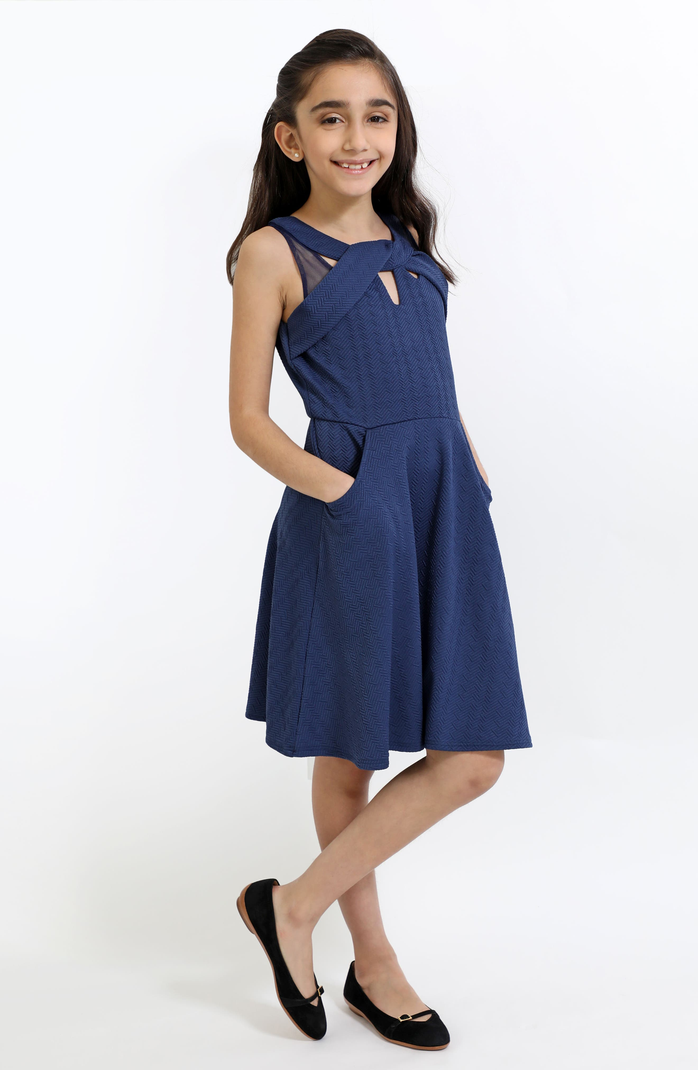 Textured Knit Fit & Flare Dress,                             Alternate thumbnail 4, color,