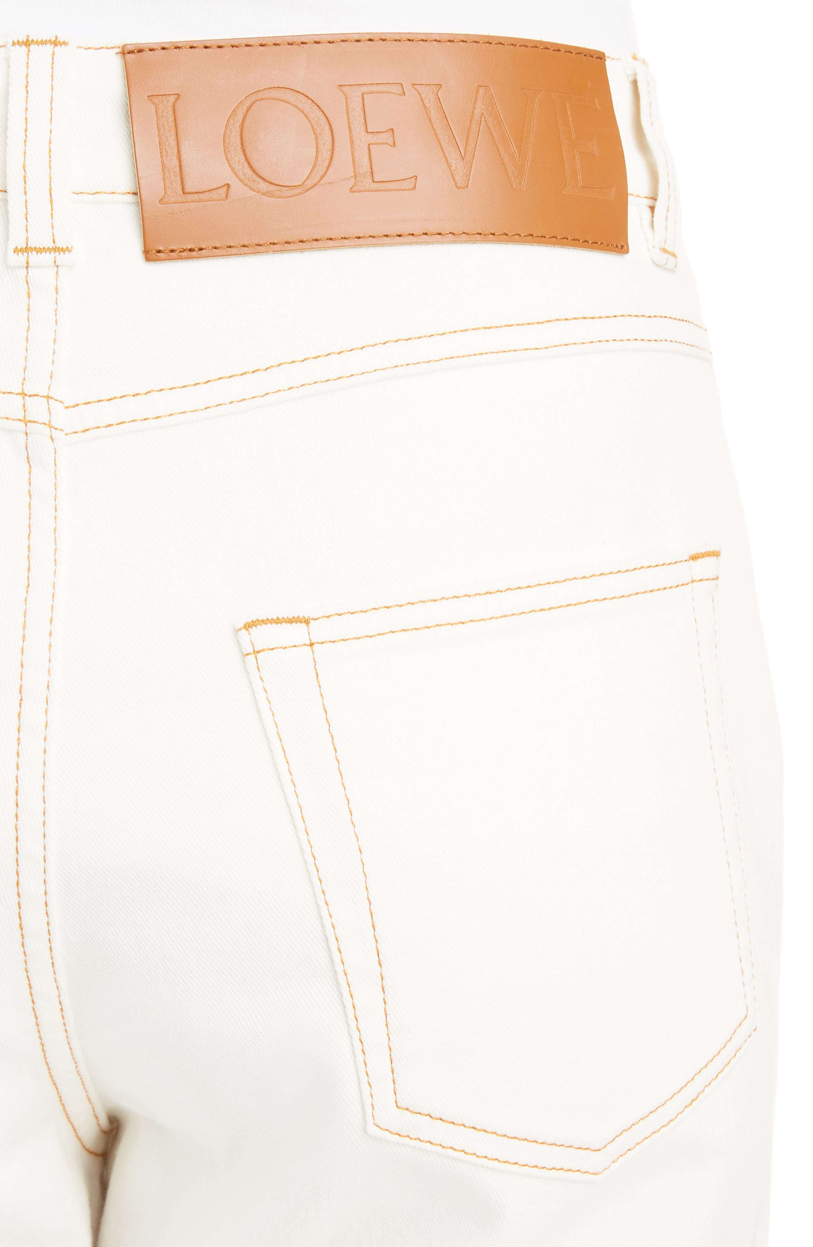 Contrast Stitch Fisherman Jeans,                             Alternate thumbnail 4, color,                             WHITE