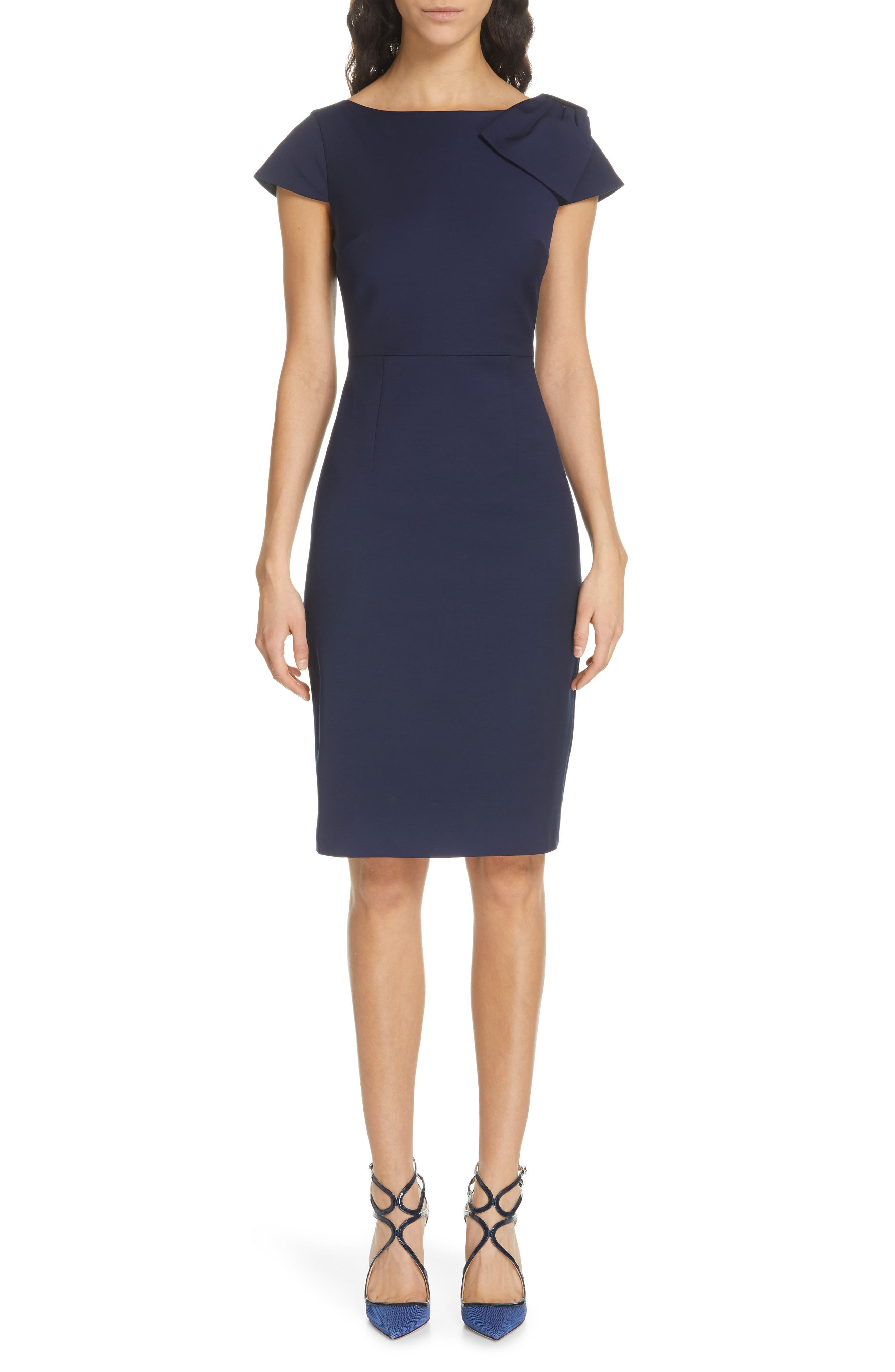 Ted Baker London Zameldd Bow Detail Sheath Dress, Blue
