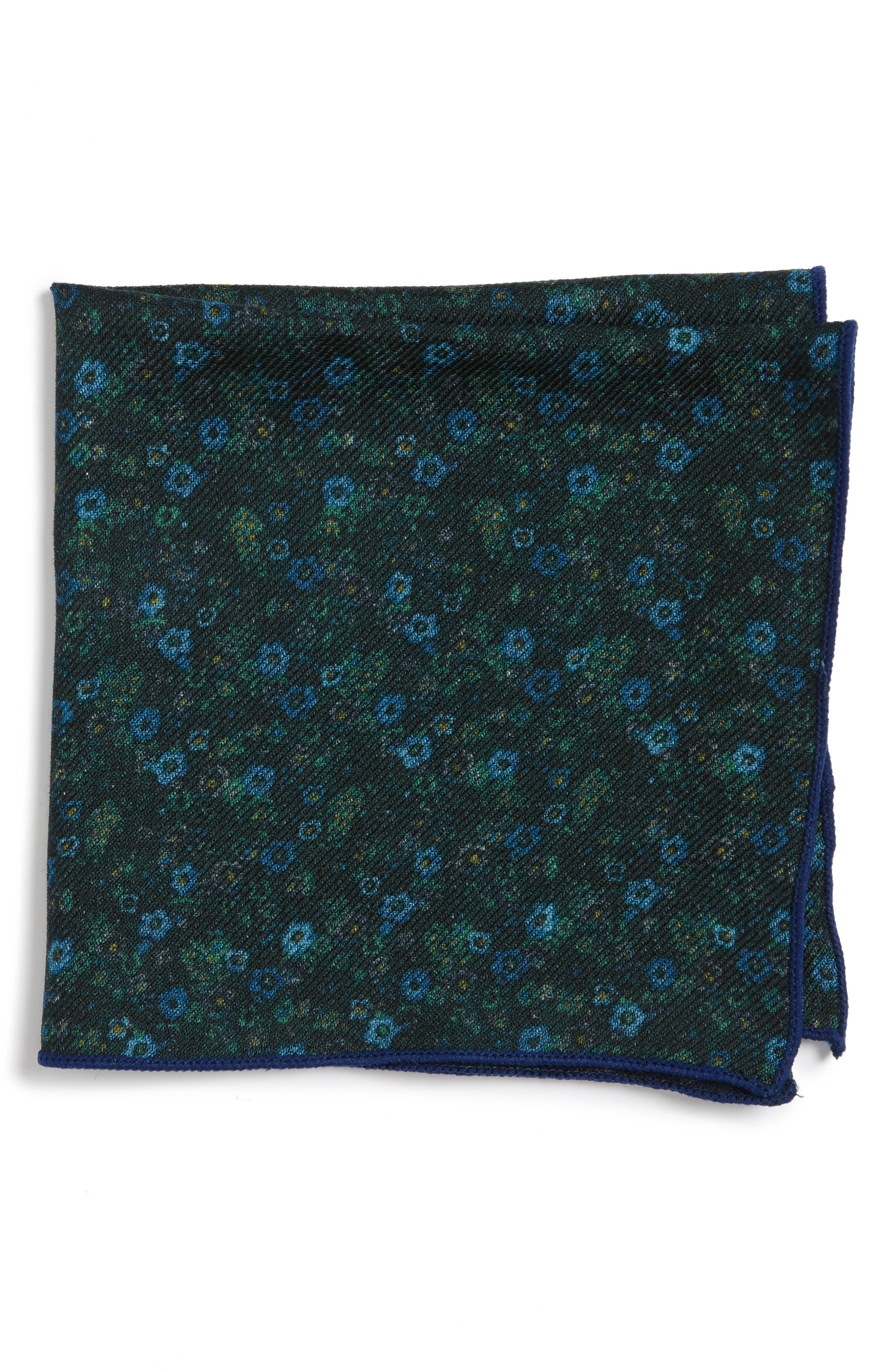 Floral Wool Pocket Square,                         Main,                         color, 300