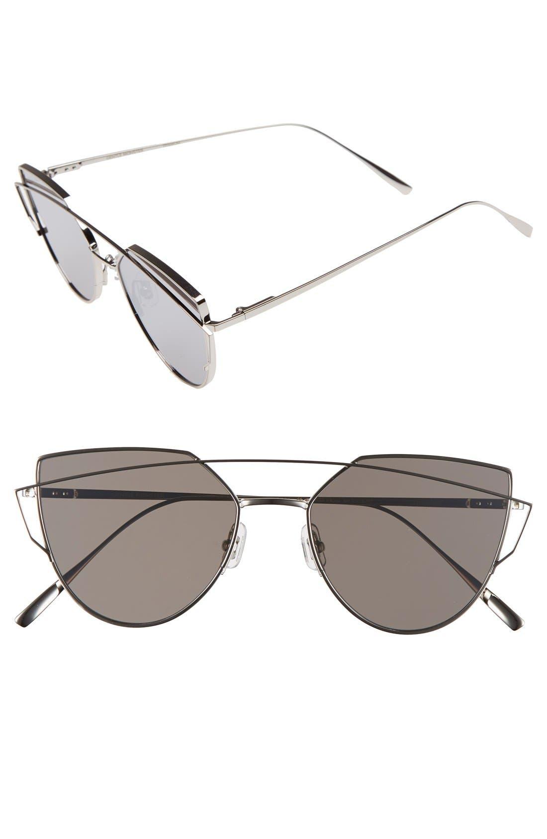 'Love Punch' 55mm Titanium Aviator Sunglasses,                             Main thumbnail 1, color,                             040