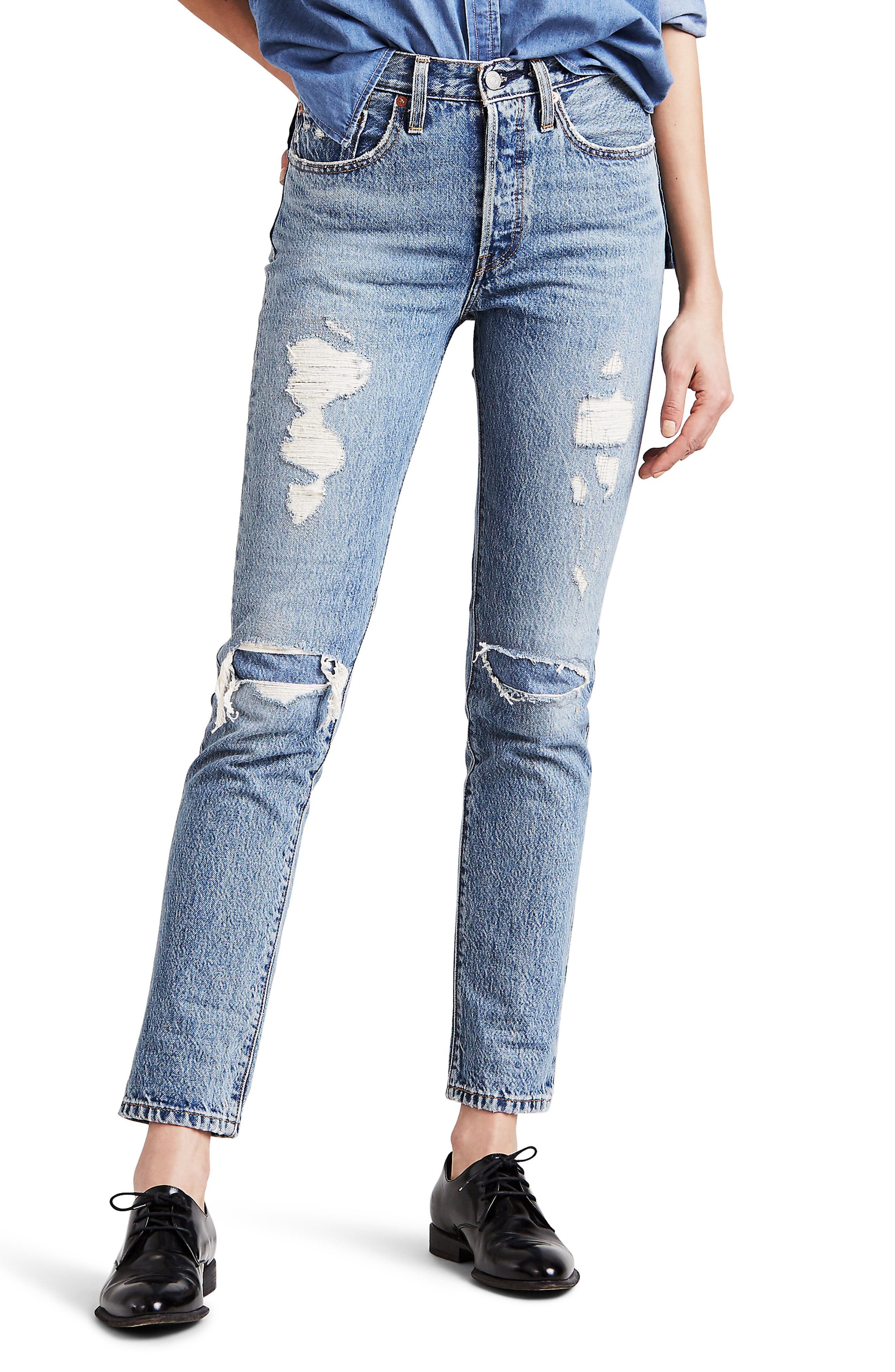 501<sup>®</sup> Distressed Skinny Jeans,                             Main thumbnail 1, color,                             420