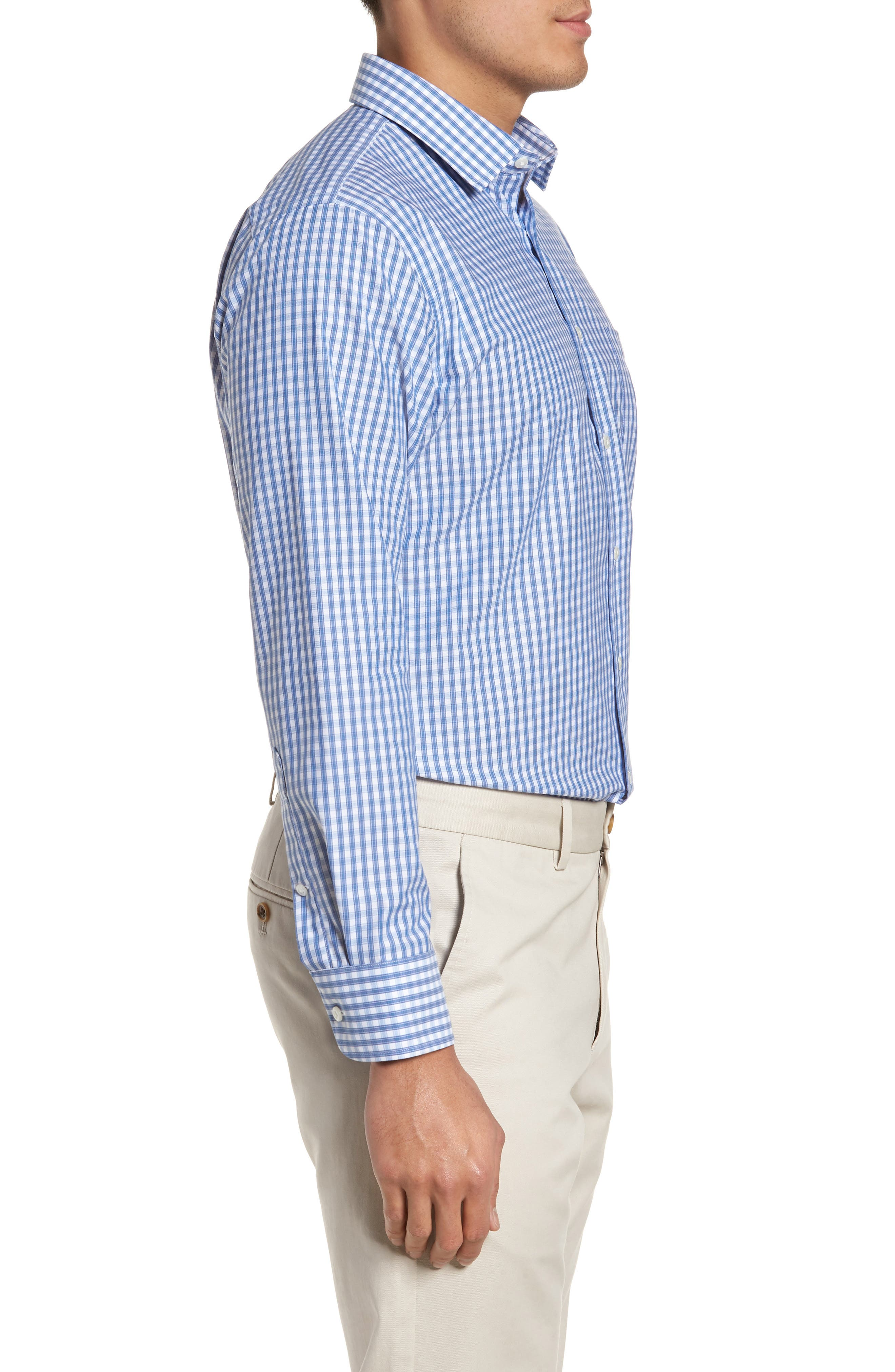 Trim Fit Non-Iron Check Dress Shirt,                             Alternate thumbnail 11, color,