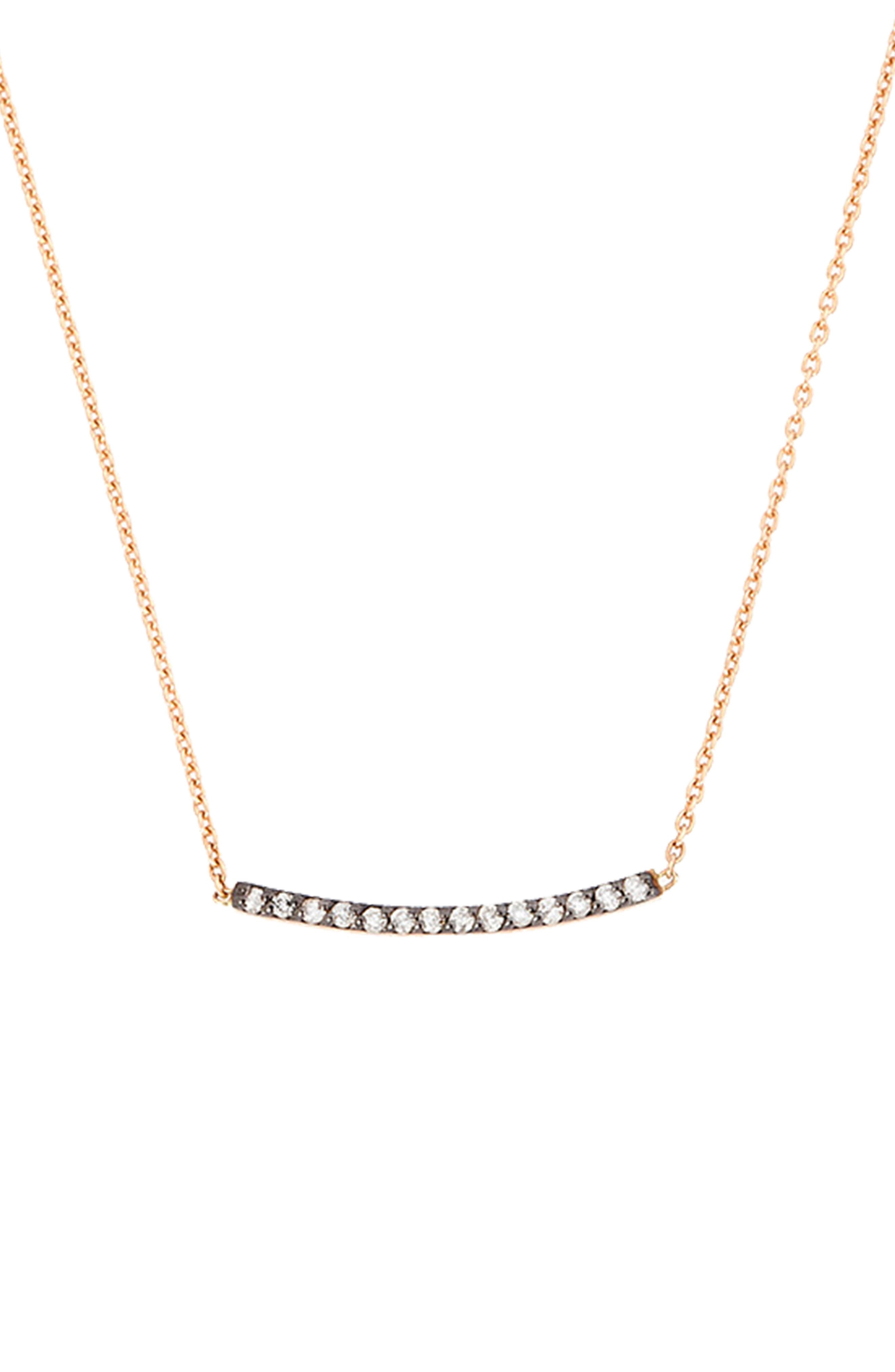Diamond Bar Necklace,                             Main thumbnail 1, color,                             ROSE GOLD