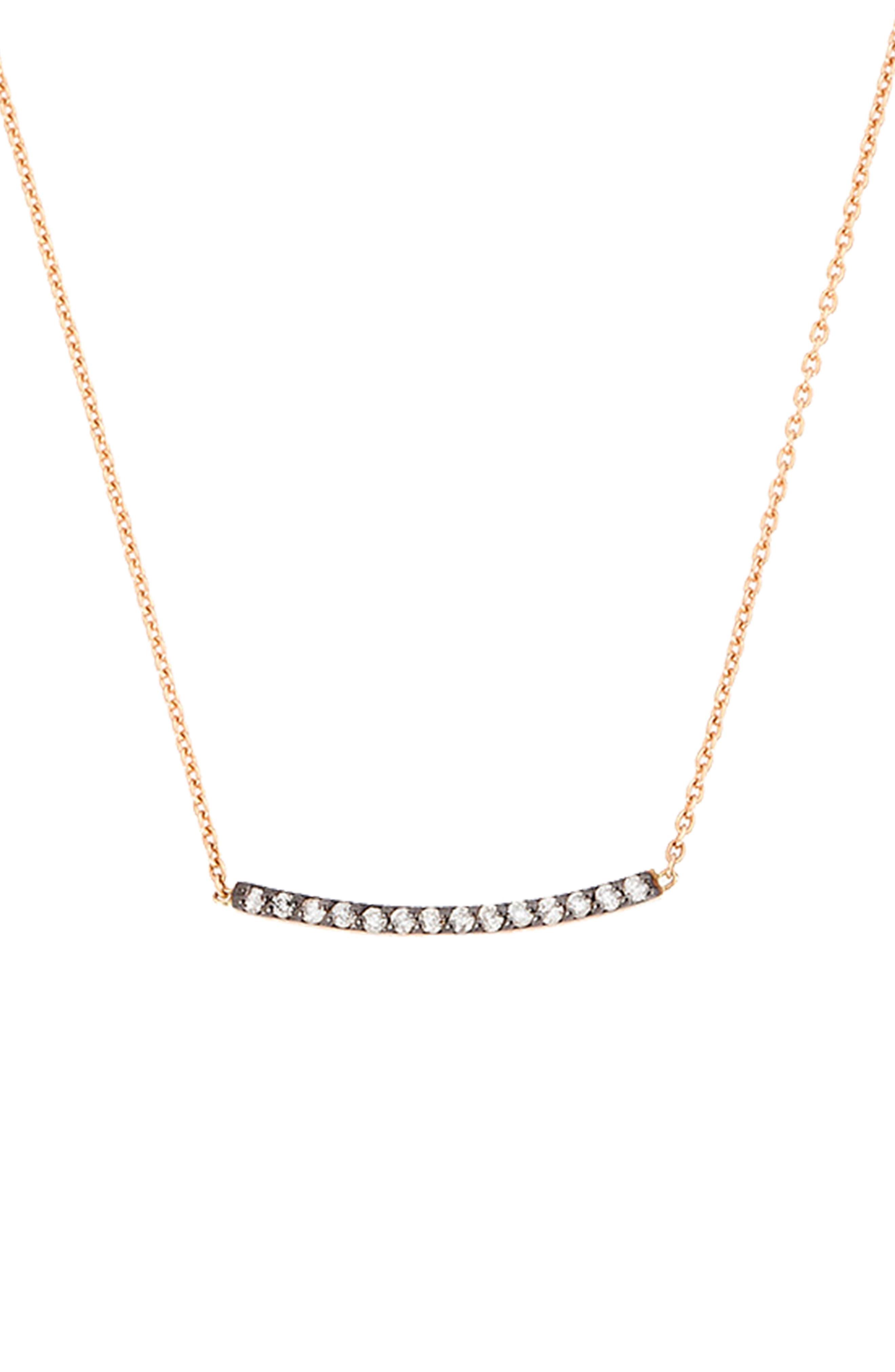 Diamond Bar Necklace,                         Main,                         color, ROSE GOLD