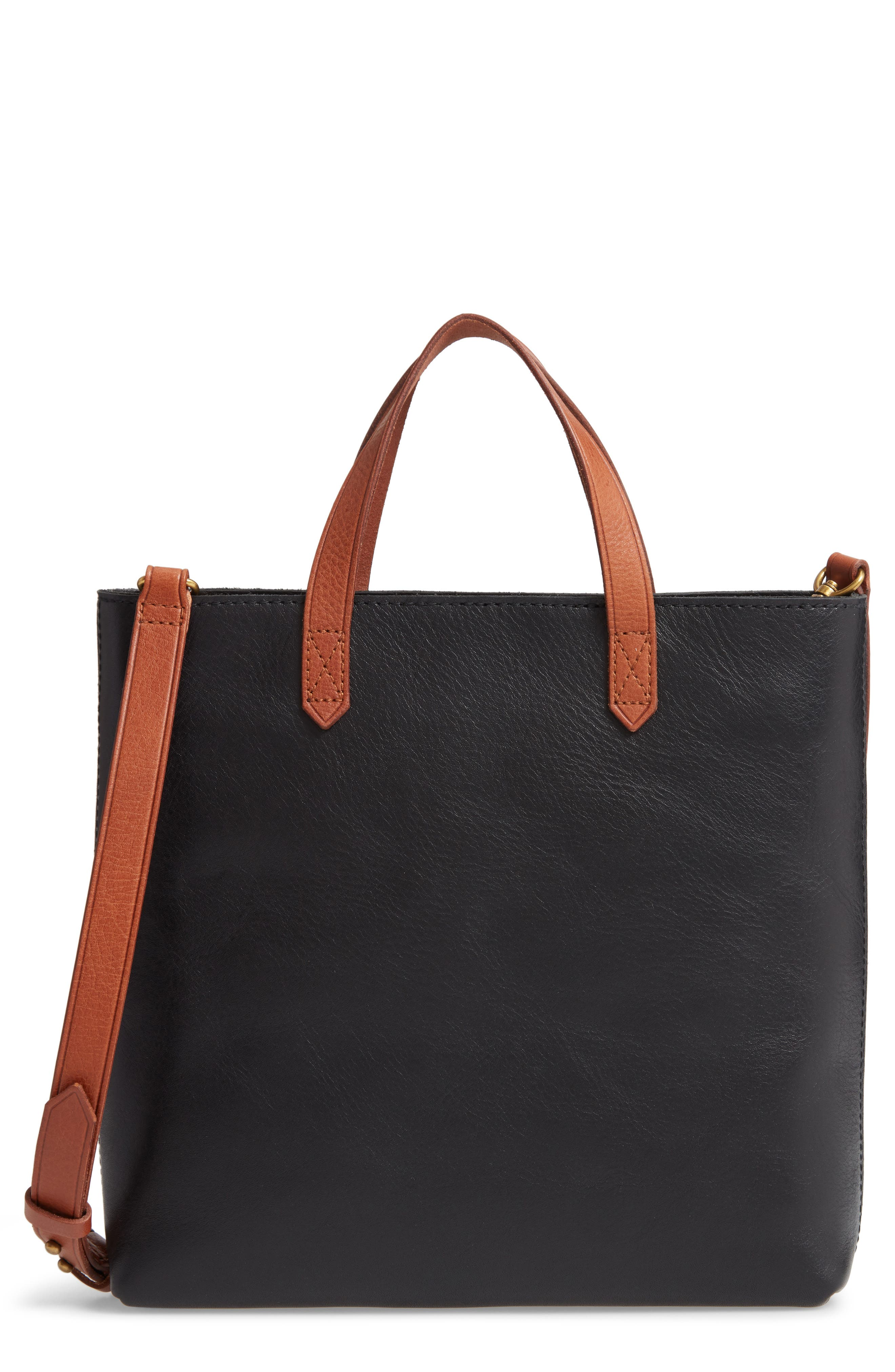 Small Transport Leather Crossbody Tote,                         Main,                         color, TRUE BLACK W/ BROWN