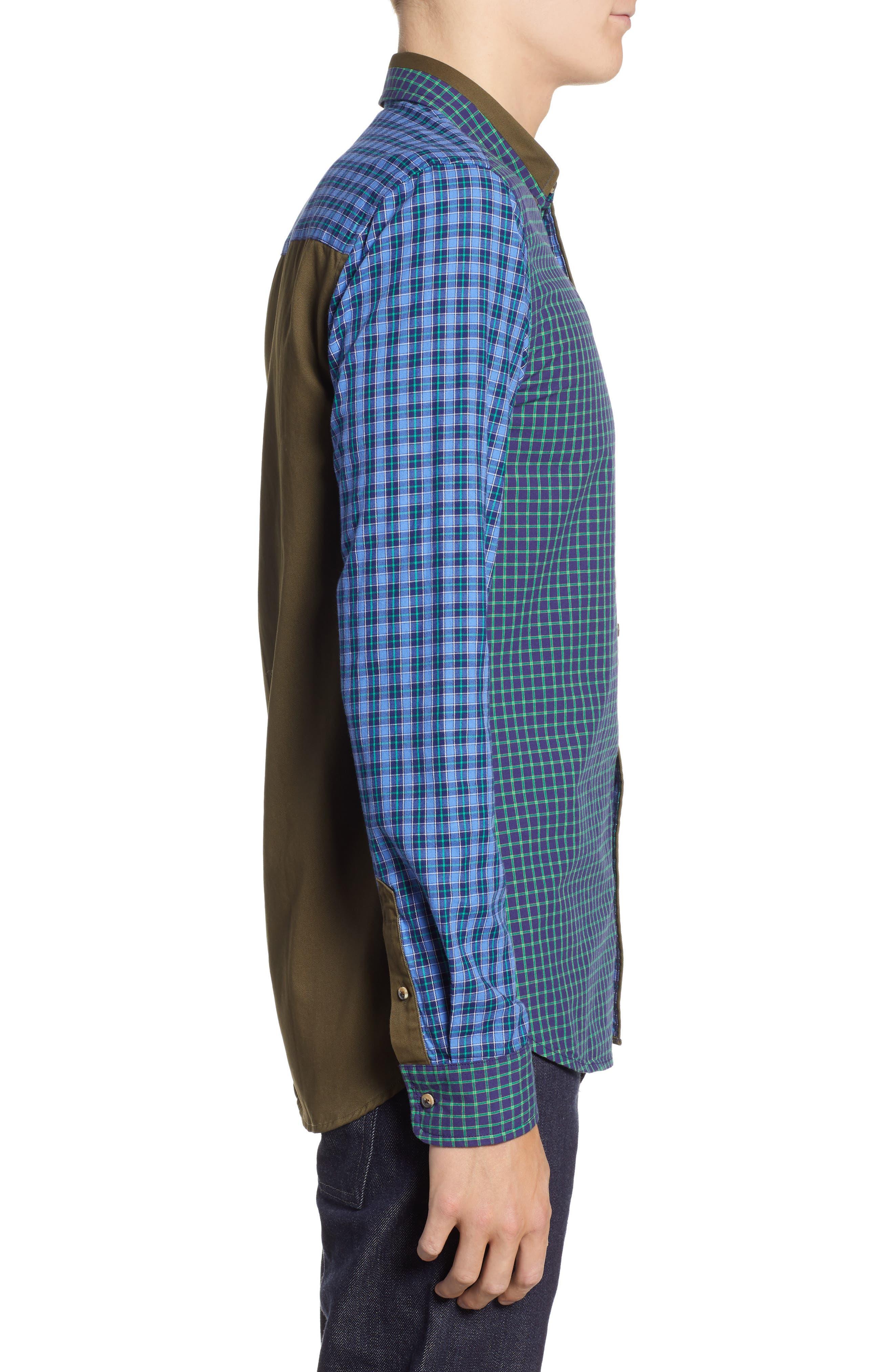 Regular Fit Pattern Blocked Sport Shirt,                             Alternate thumbnail 4, color,                             410