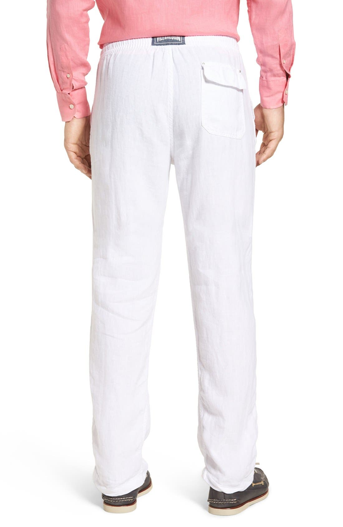 'Classic' Linen Pants,                             Alternate thumbnail 2, color,                             WHITE