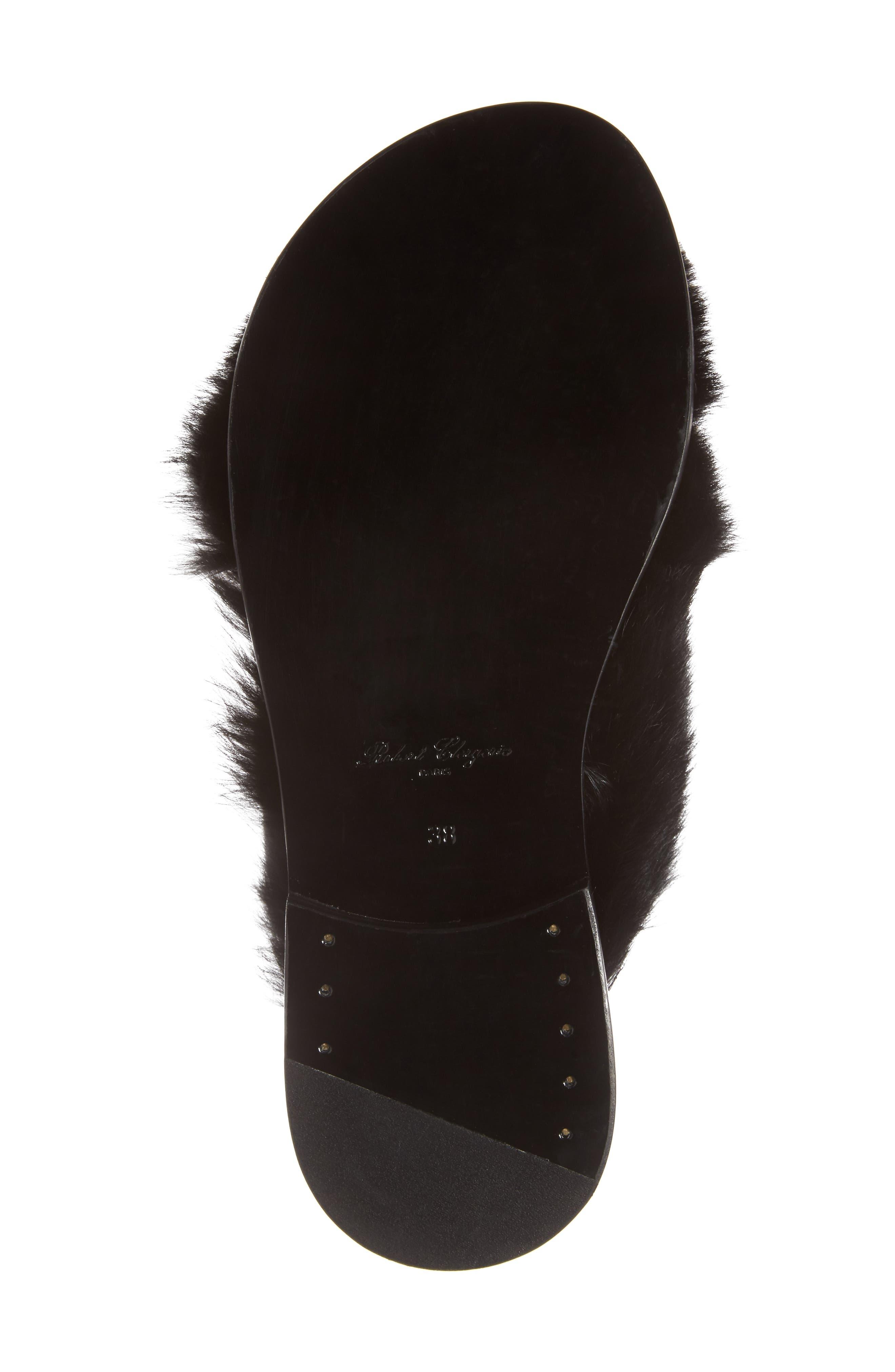 Bloss Genuine Fur Sandal,                             Alternate thumbnail 6, color,                             004