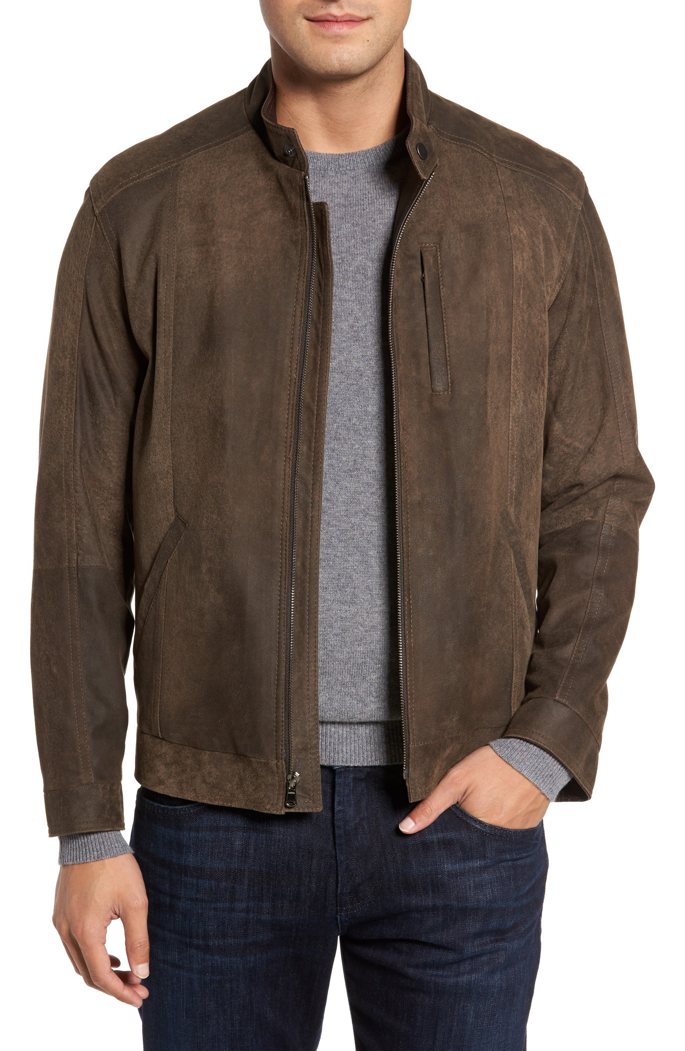 Suede Moto Jacket,                         Main,                         color, FRONTIER/ COCOA