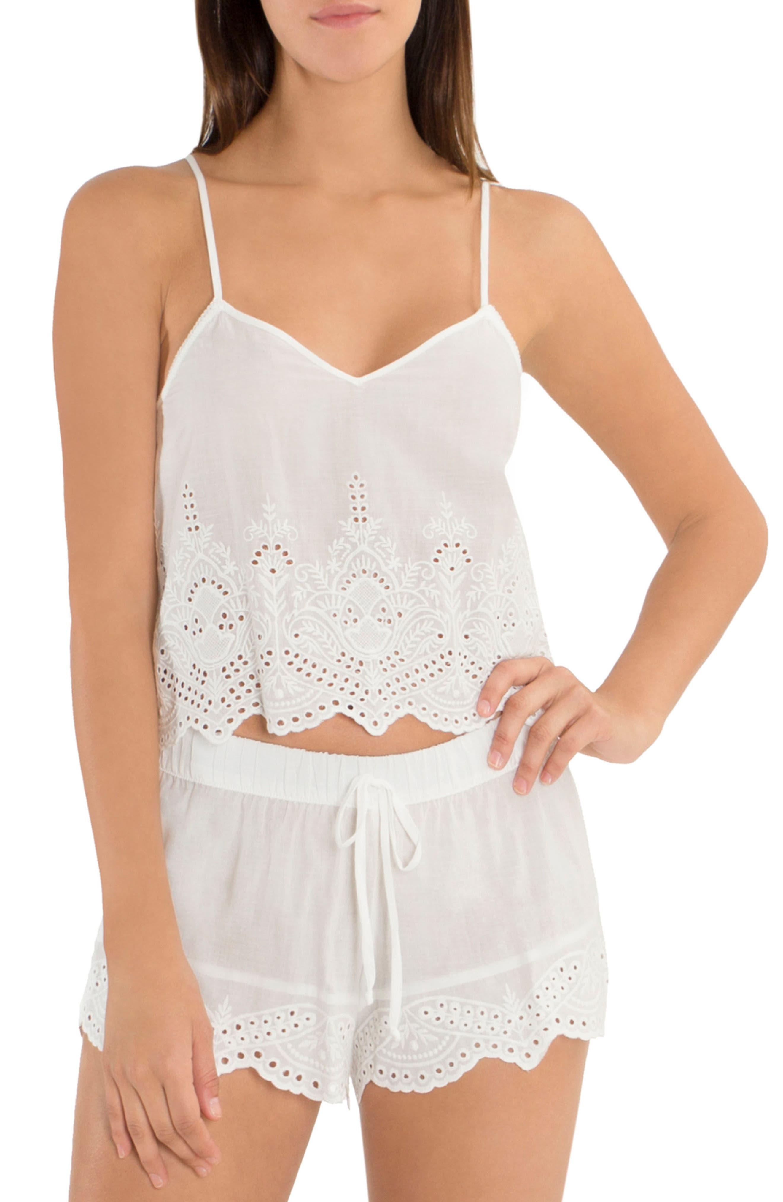 Eyelet Cotton Short Pajamas,                             Main thumbnail 1, color,                             900