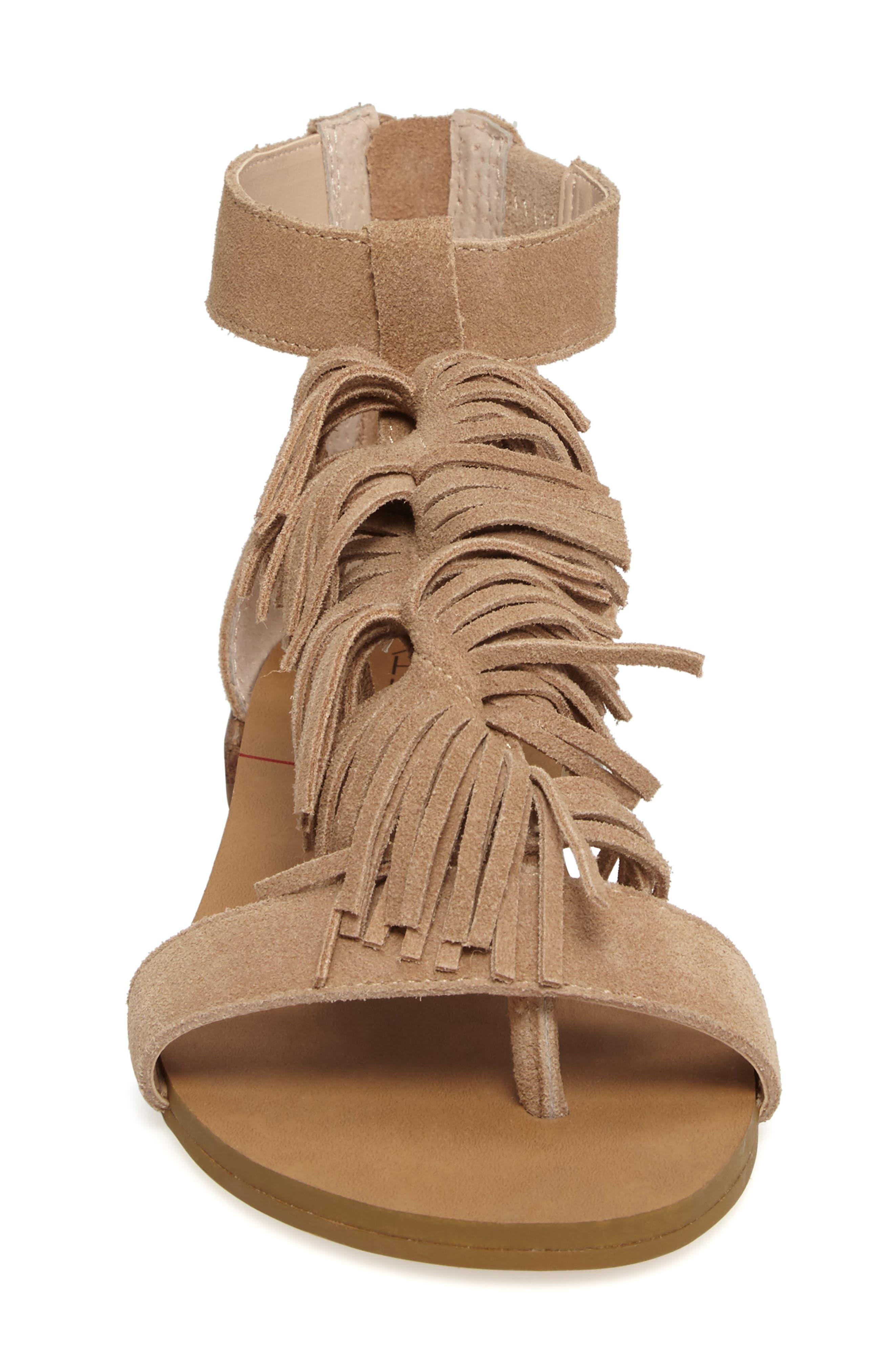 Koa Fringed T-Strap Sandal,                             Alternate thumbnail 4, color,                             200